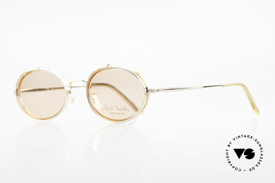 Paul Smith PSR108 Ovale Vintage Brille Mit Clip, dieses alte Paul Smith Original ist noch 'made in Japan', Passend für Herren und Damen