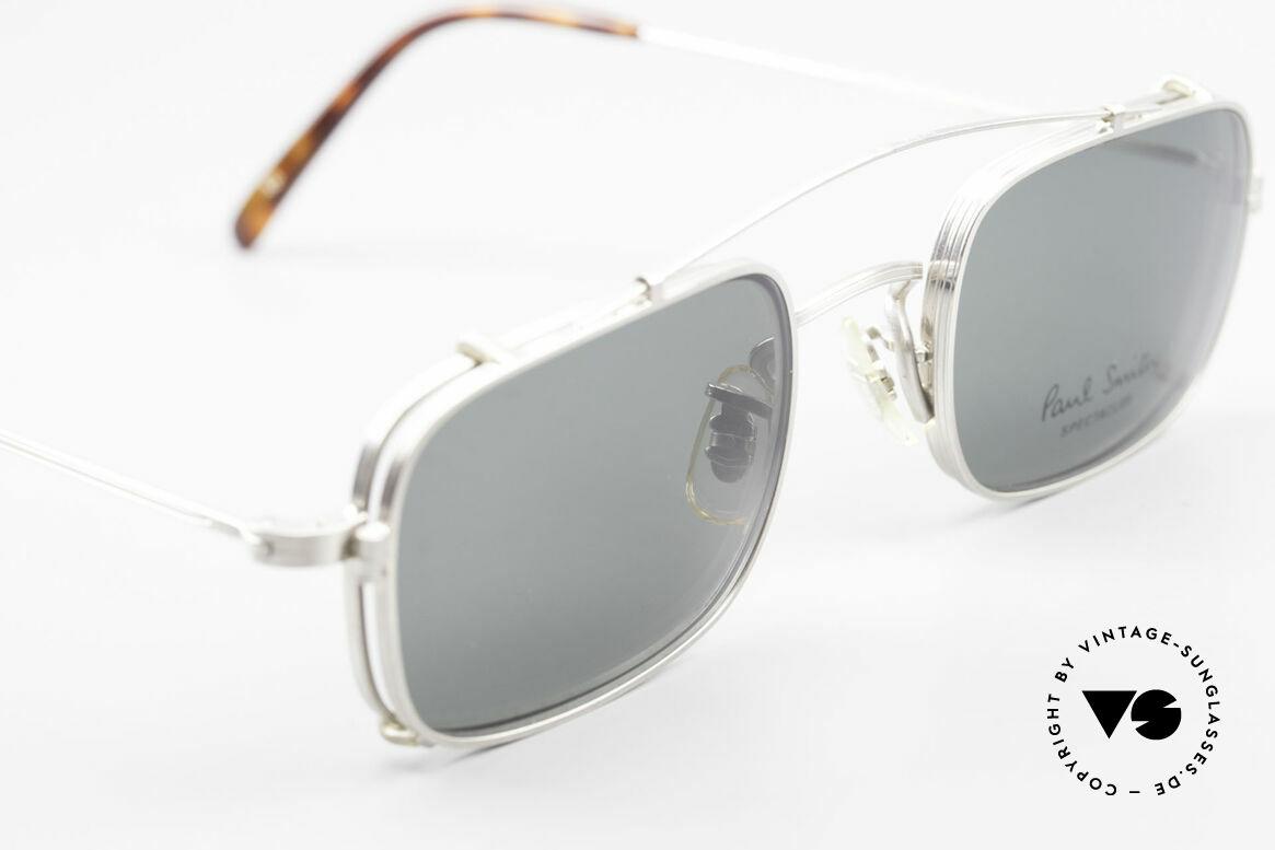 Paul Smith PS101 Eckige Vintage Brille Clip On, ungetragene, eckige Fassung mit praktischem Clip-On!, Passend für Herren und Damen