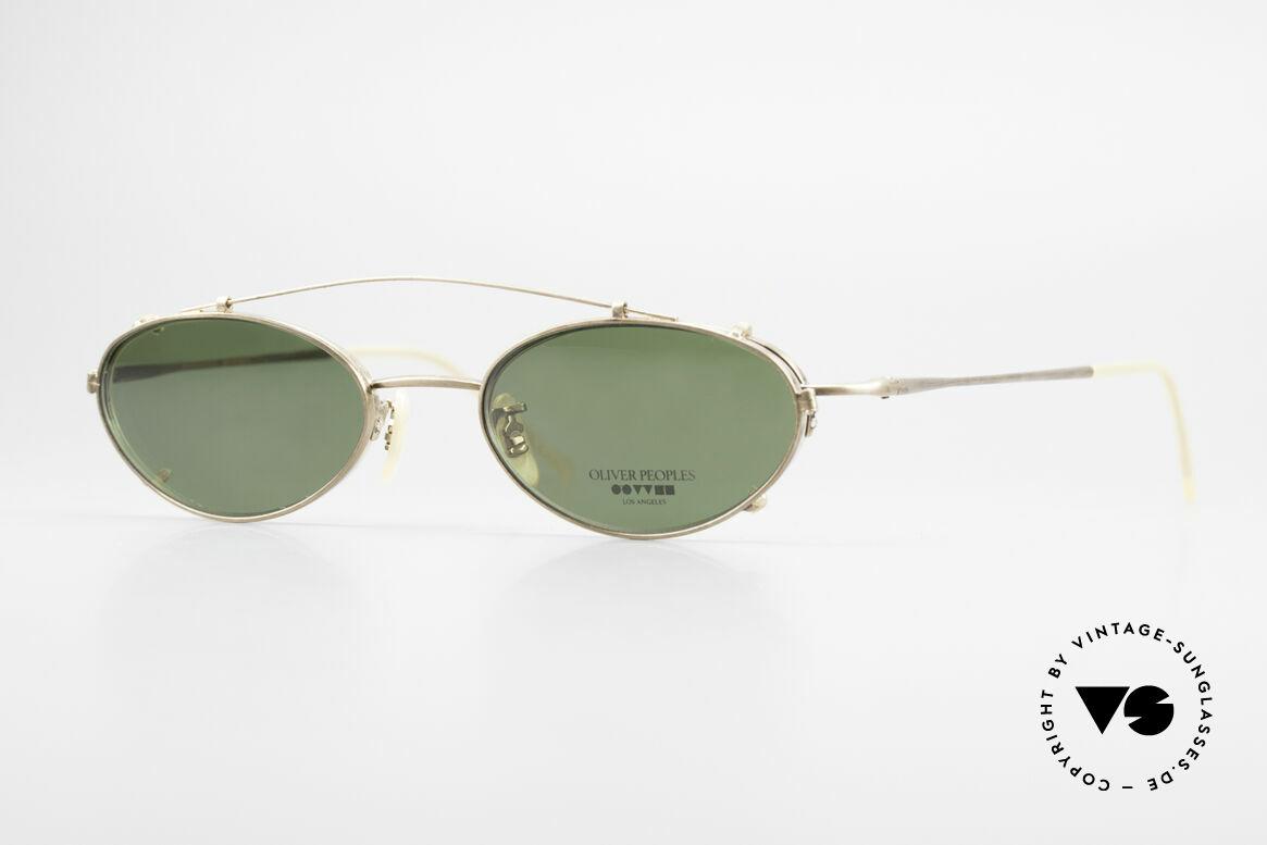 Oliver Peoples OP599 Ovale Vintage Brille Mit Clip, vintage Oliver Peoples Designerbrille der späten 90er, Passend für Herren und Damen