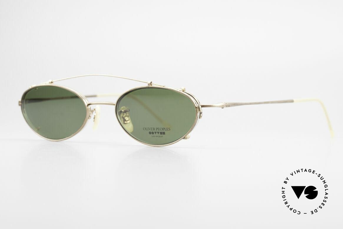 Oliver Peoples OP599 Ovale Vintage Brille Mit Clip, zeitlos, schlicht, elegant (mit passendem Sonnen-Clip), Passend für Herren und Damen