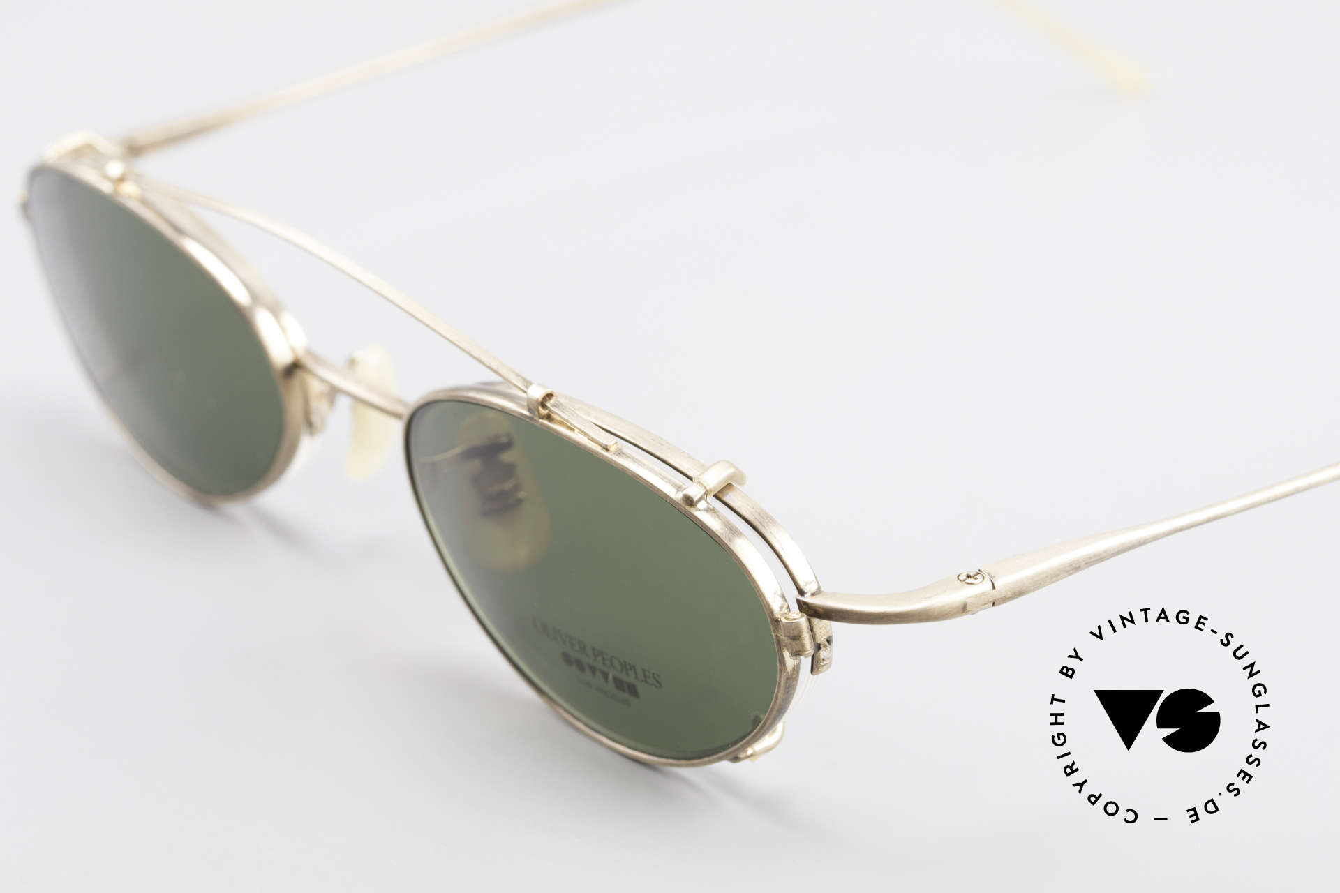 Oliver Peoples OP599 Ovale Vintage Brille Mit Clip, ungetragene Fassung (halb rahmenlos), made in Japan, Passend für Herren und Damen