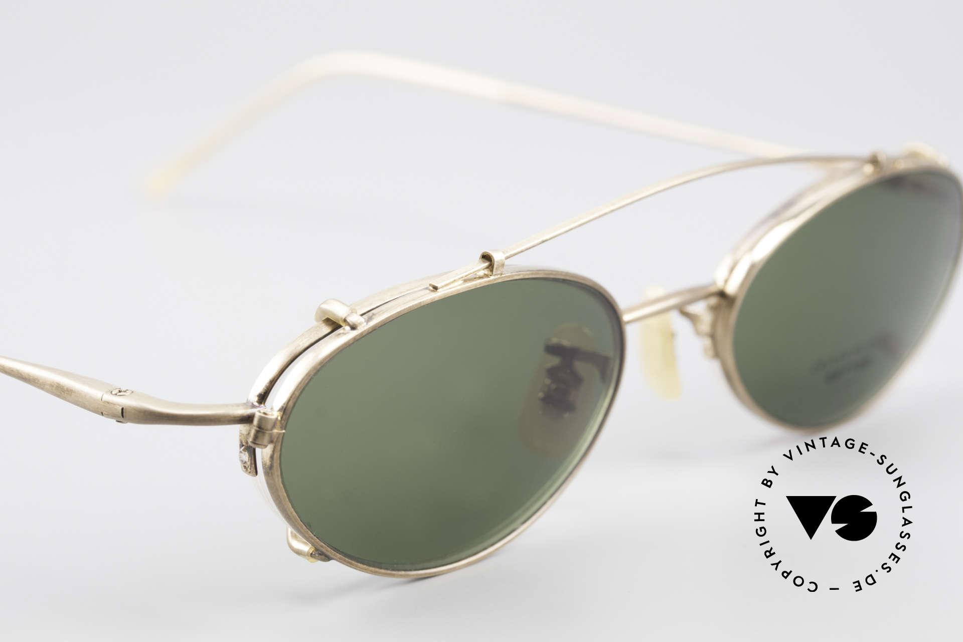 Oliver Peoples OP599 Ovale Vintage Brille Mit Clip, KEINE Retrobrille; sondern ein 20 Jahre altes Original, Passend für Herren und Damen