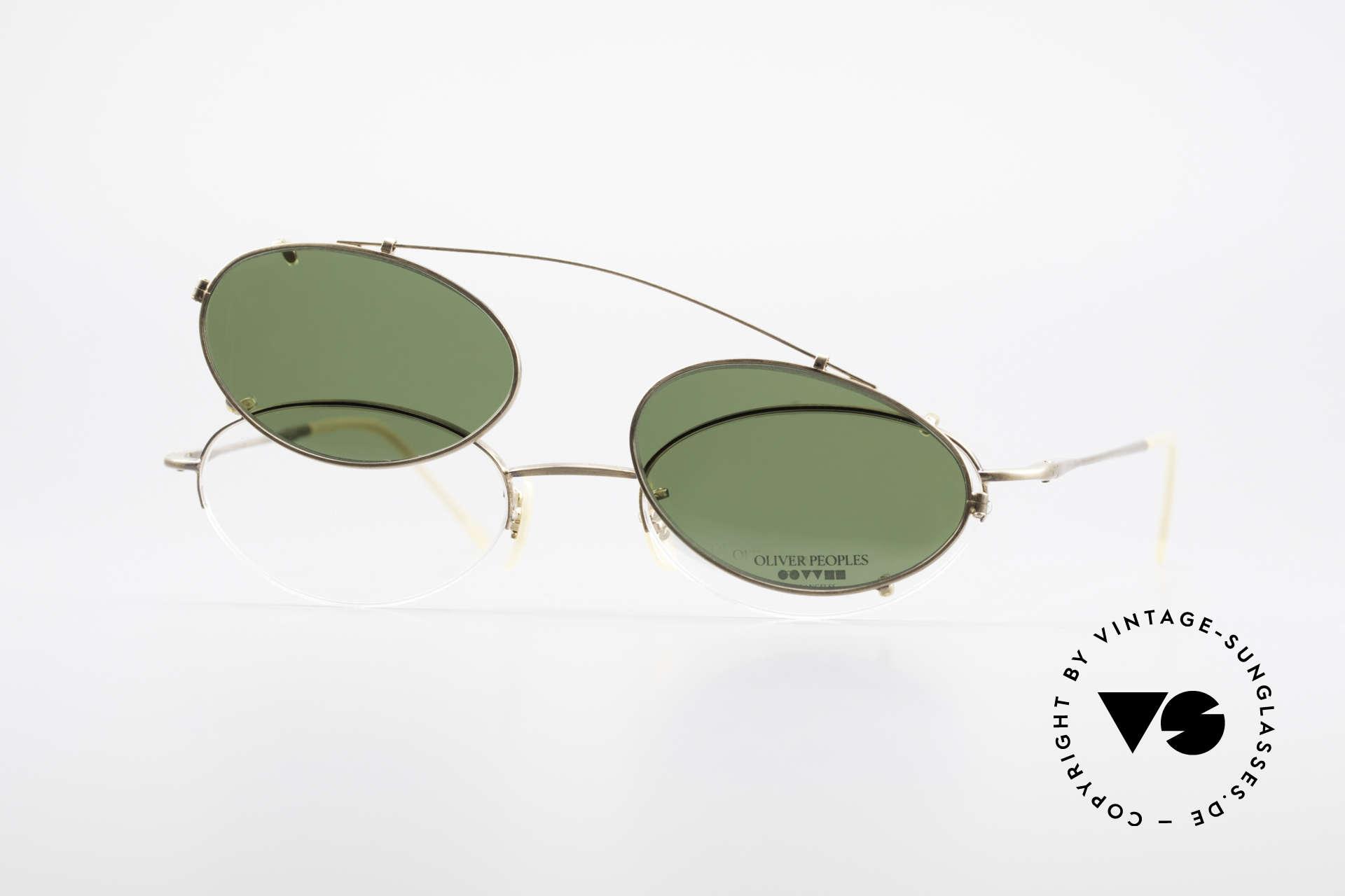 Oliver Peoples OP599 Ovale Vintage Brille Mit Clip, Qualitätsfassung kann beliebig optisch verglast werden, Passend für Herren und Damen