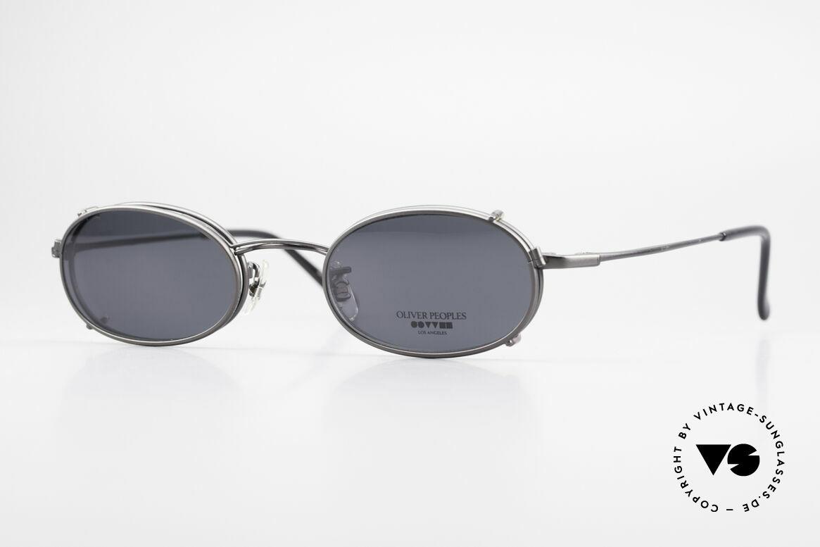 Oliver Peoples OP583 Ovale 90er Brille Mit Sun Clip, vintage Oliver Peoples Designerbrille der späten 90er, Passend für Herren