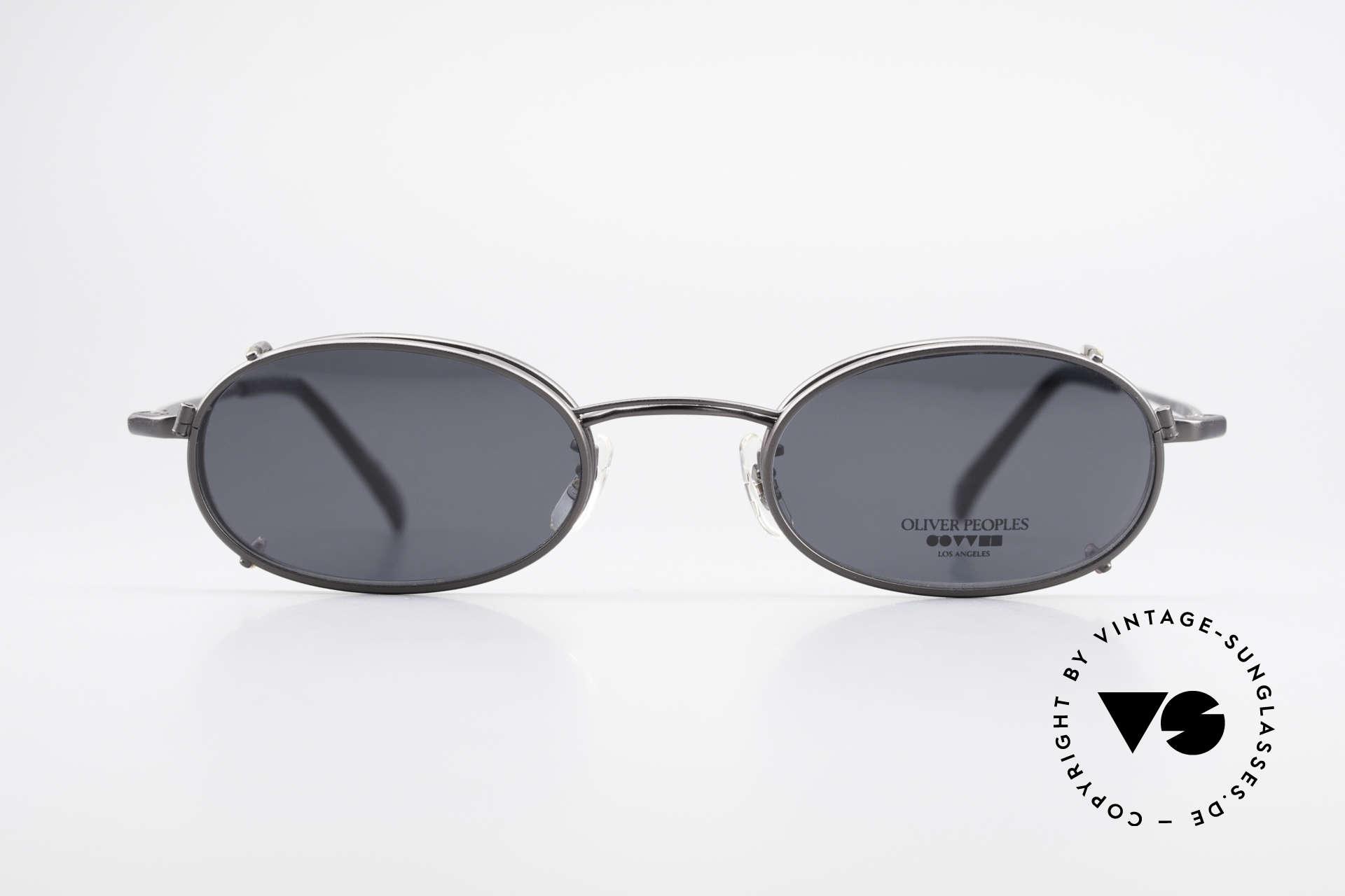 Oliver Peoples OP583 Ovale 90er Brille Mit Sun Clip, Luxusbrille: verkörpert den Lifestyle von Los Angeles, Passend für Herren