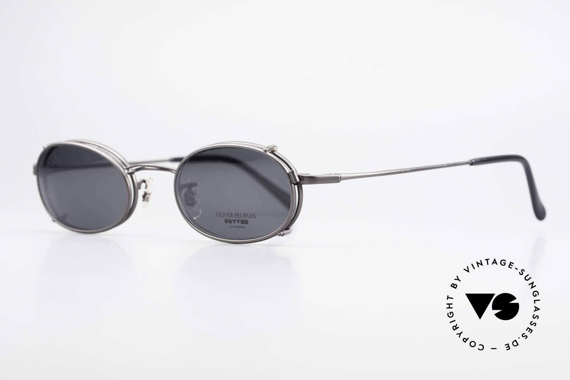 Oliver Peoples OP583 Ovale 90er Brille Mit Sun Clip, zeitlos, schlicht, elegant (mit passendem Sonnen-Clip), Passend für Herren