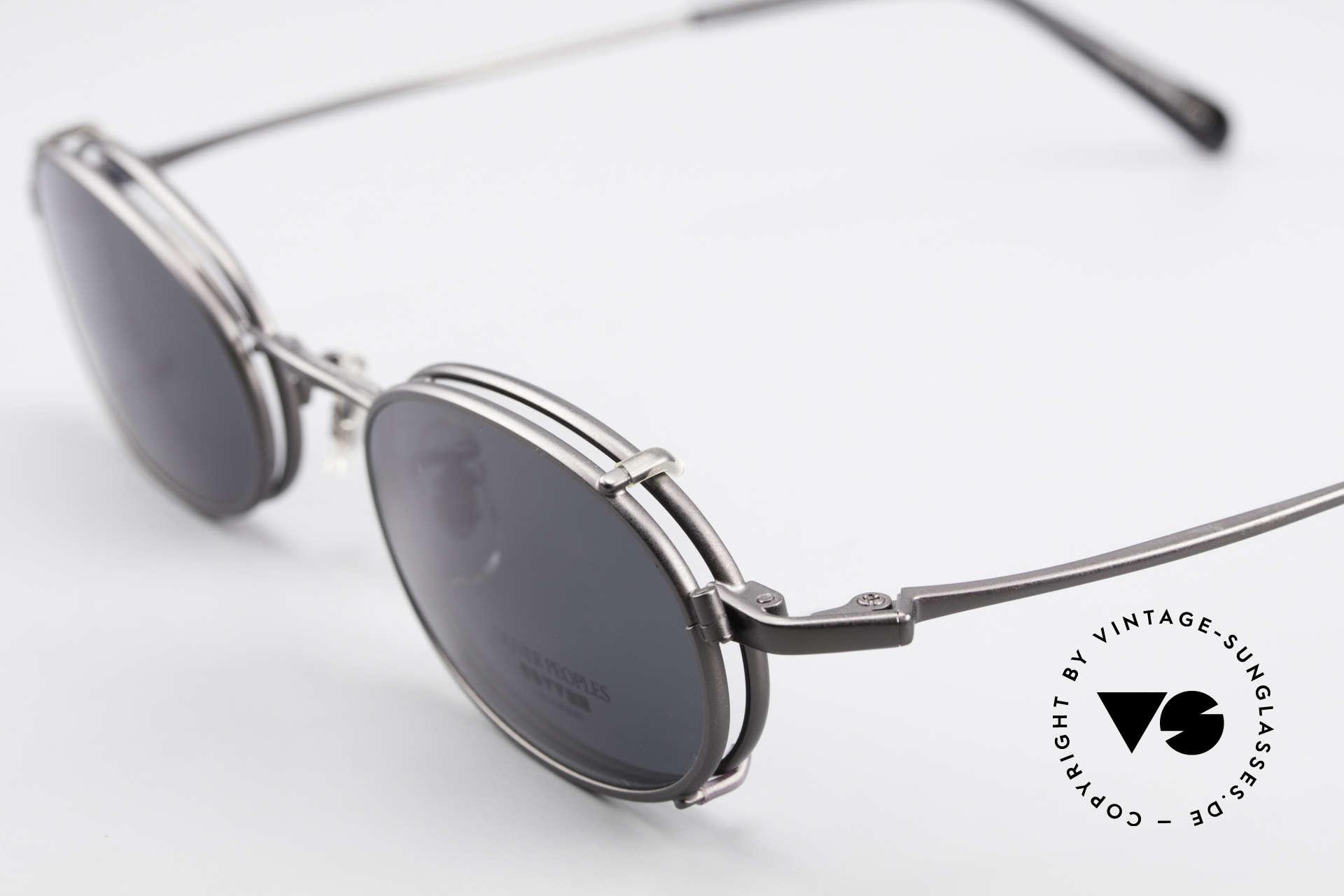 Oliver Peoples OP583 Ovale 90er Brille Mit Sun Clip, ungetragenes O. Peoples Einzelstück (made in Japan), Passend für Herren
