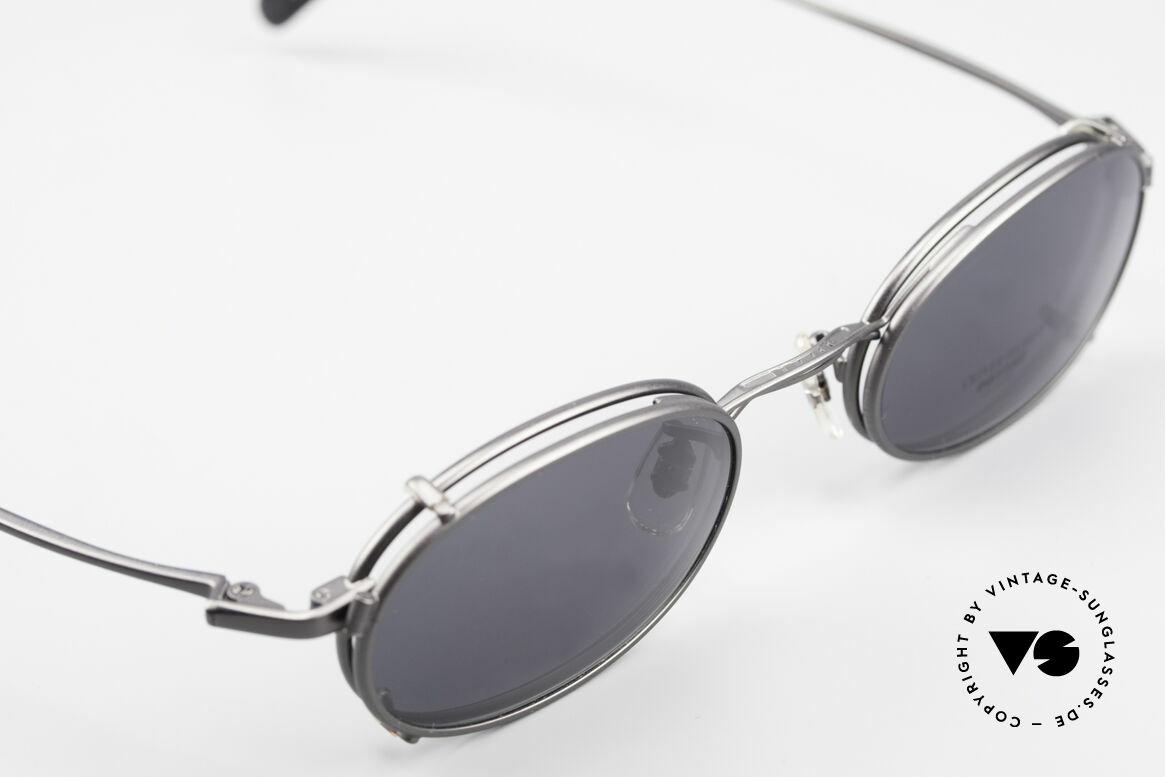 Oliver Peoples OP583 Ovale 90er Brille Mit Sun Clip, KEINE Retrobrille; sondern ein 20 Jahre altes Original, Passend für Herren