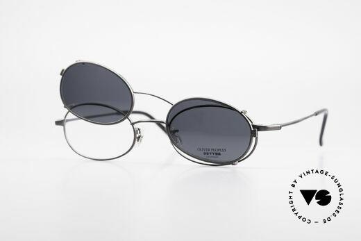 Oliver Peoples OP583 Ovale 90er Brille Mit Sun Clip, Qualitätsfassung kann beliebig optisch verglast werden, Passend für Herren