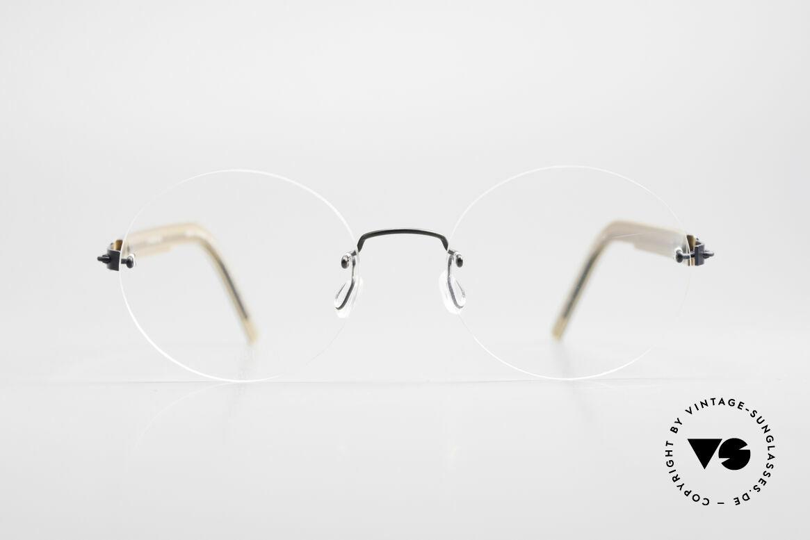 Lindberg 2111 Spirit Titan Randlose Titanium Brille Rund, vielfach ausgezeichnet hinsichtlich Qualität und Design, Passend für Herren und Damen