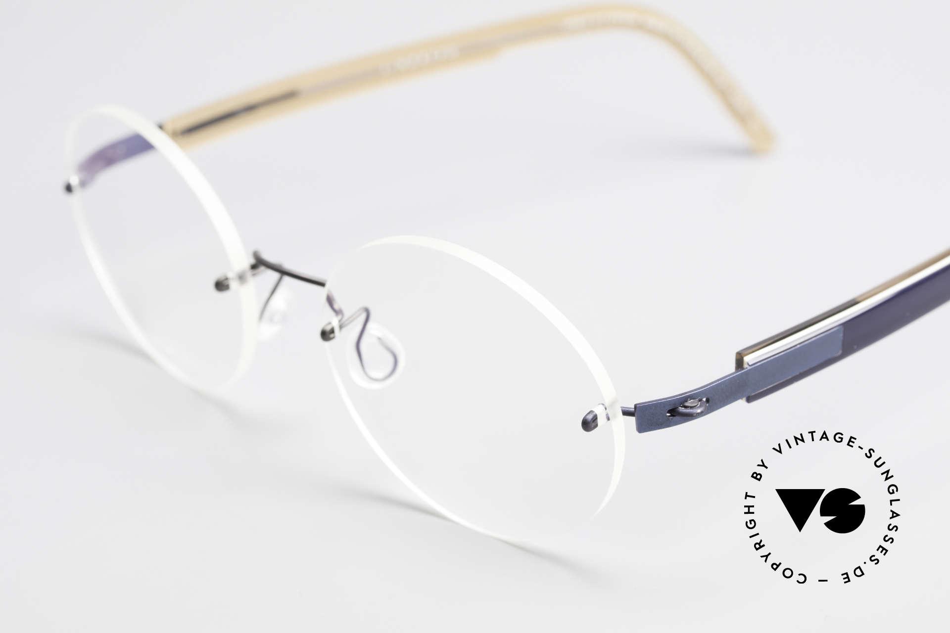 Lindberg 2111 Spirit Titan Randlose Titanium Brille Rund, ungetragenes Designerstück + orig. Lindberg Magnet-Etui, Passend für Herren und Damen