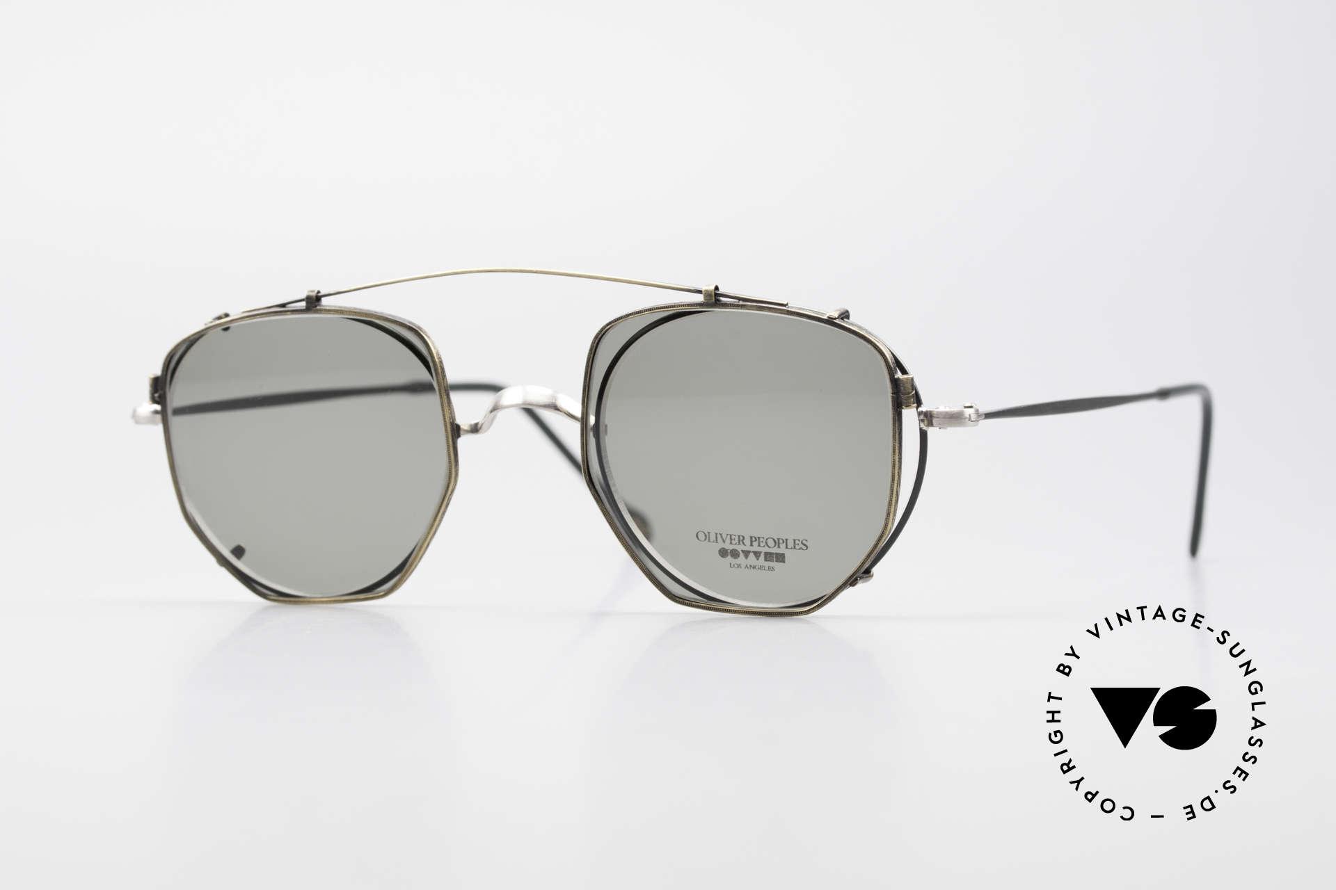Oliver Peoples OP80BC Runde Brille Eckiger Clip On, vintage Oliver Peoples Sonnenbrille der frühen 90er, Passend für Herren und Damen