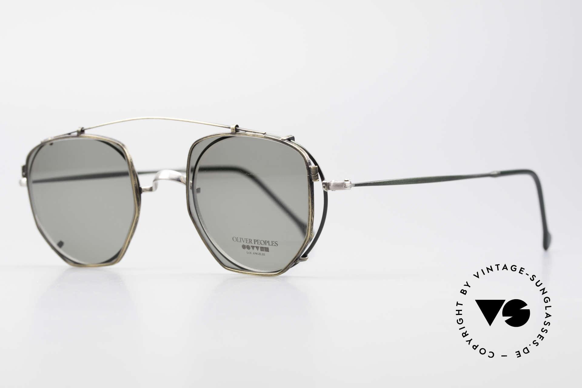 Oliver Peoples OP80BC Runde Brille Eckiger Clip On, rundes Modell OP-80BC in tannengrün / antik-silber, Passend für Herren und Damen