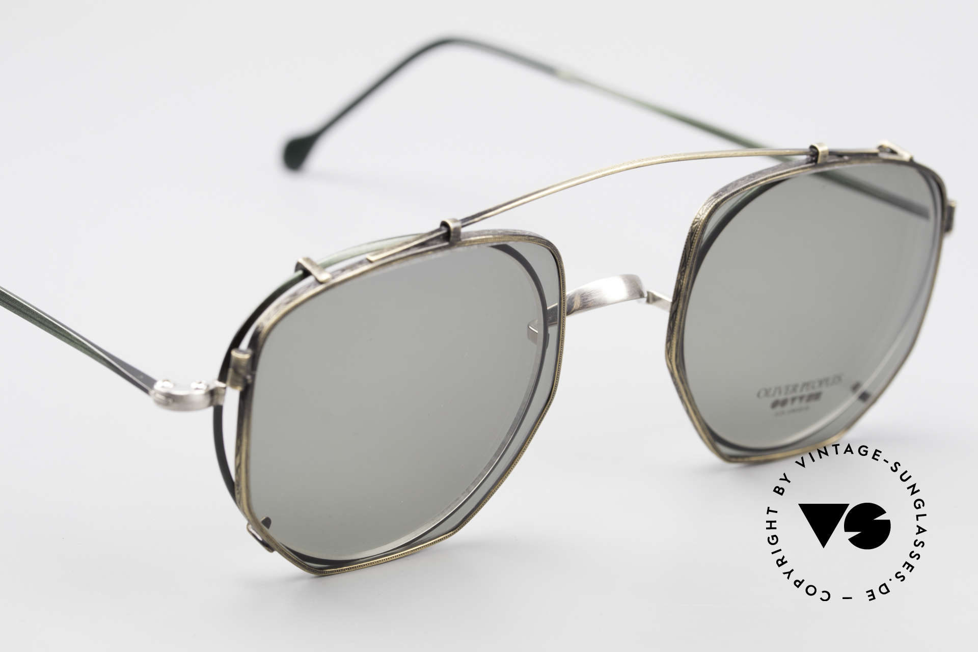 Oliver Peoples OP80BC Runde Brille Eckiger Clip On, die Größe passt und sieht cool aus = EINZELSTÜCK!, Passend für Herren und Damen