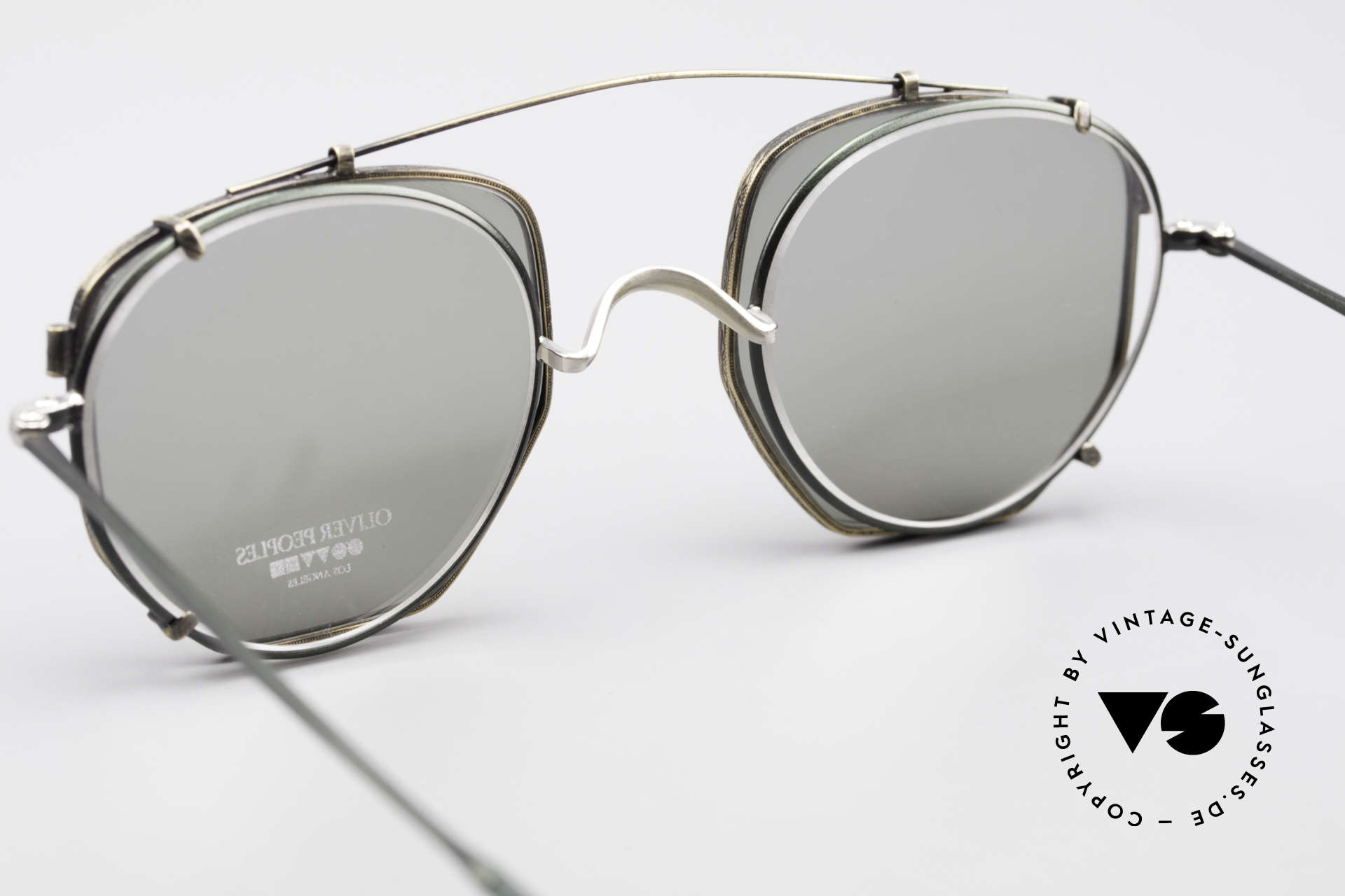 Oliver Peoples OP80BC Runde Brille Eckiger Clip On, KEINE Retromode, sondern ein 25 Jahre altes Original, Passend für Herren und Damen