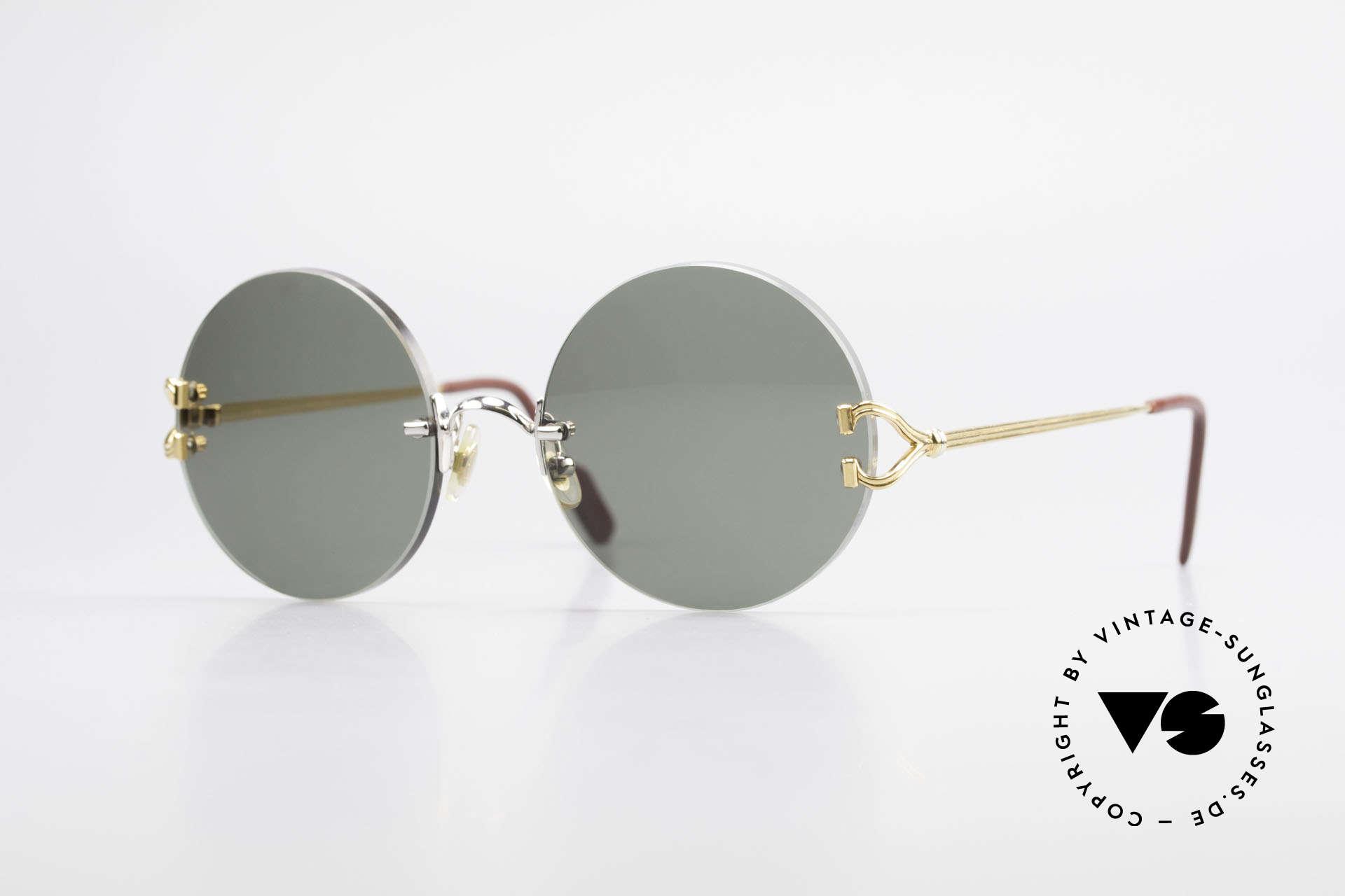 Cartier Madison Runde Customized Sonnenbrille, edle runde Cartier Luxus-Sonnenbrille von 1997, Passend für Herren und Damen