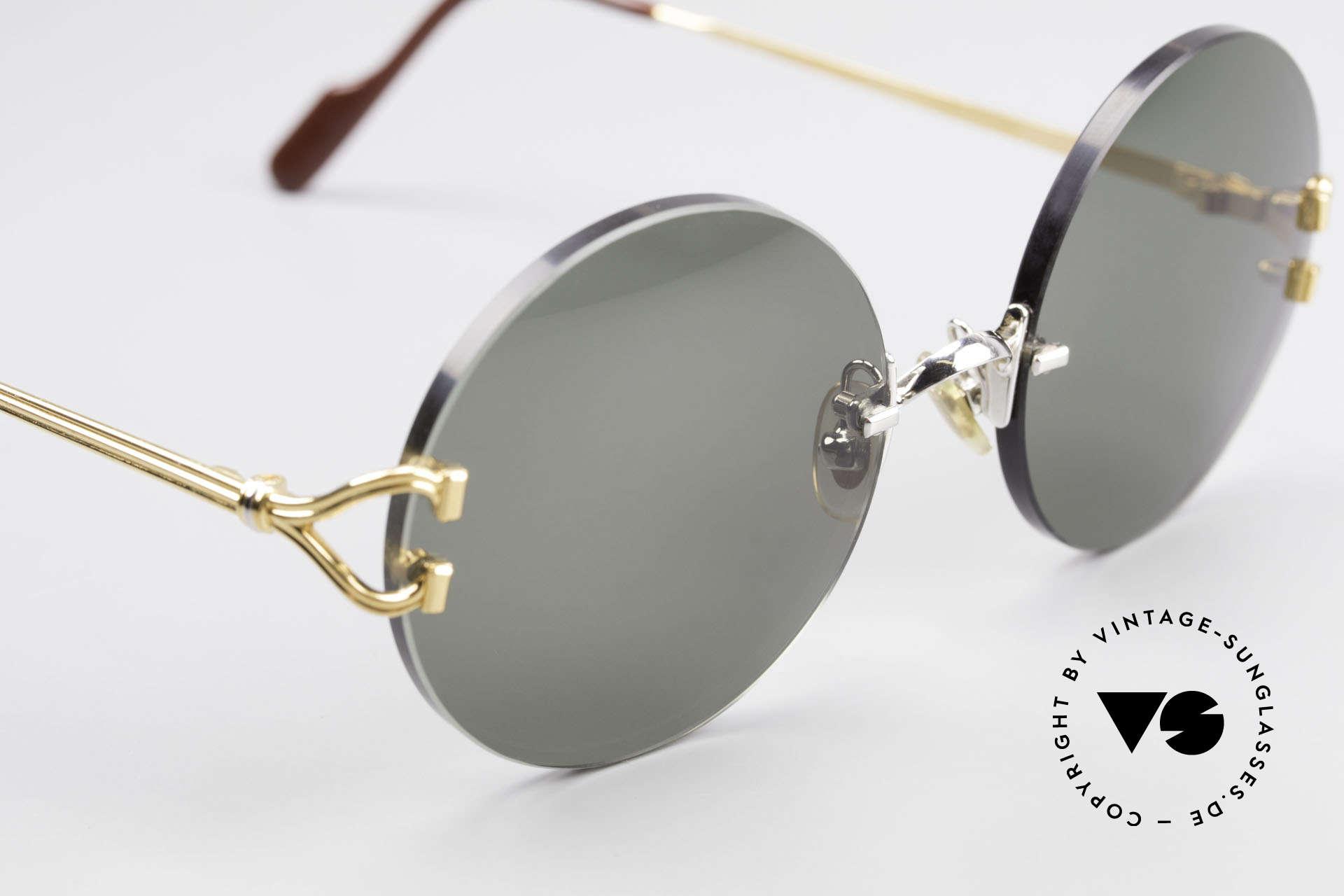 Cartier Madison Runde Customized Sonnenbrille, neue CR39 UV400 Gläser in einem grau-grün G15, Passend für Herren und Damen