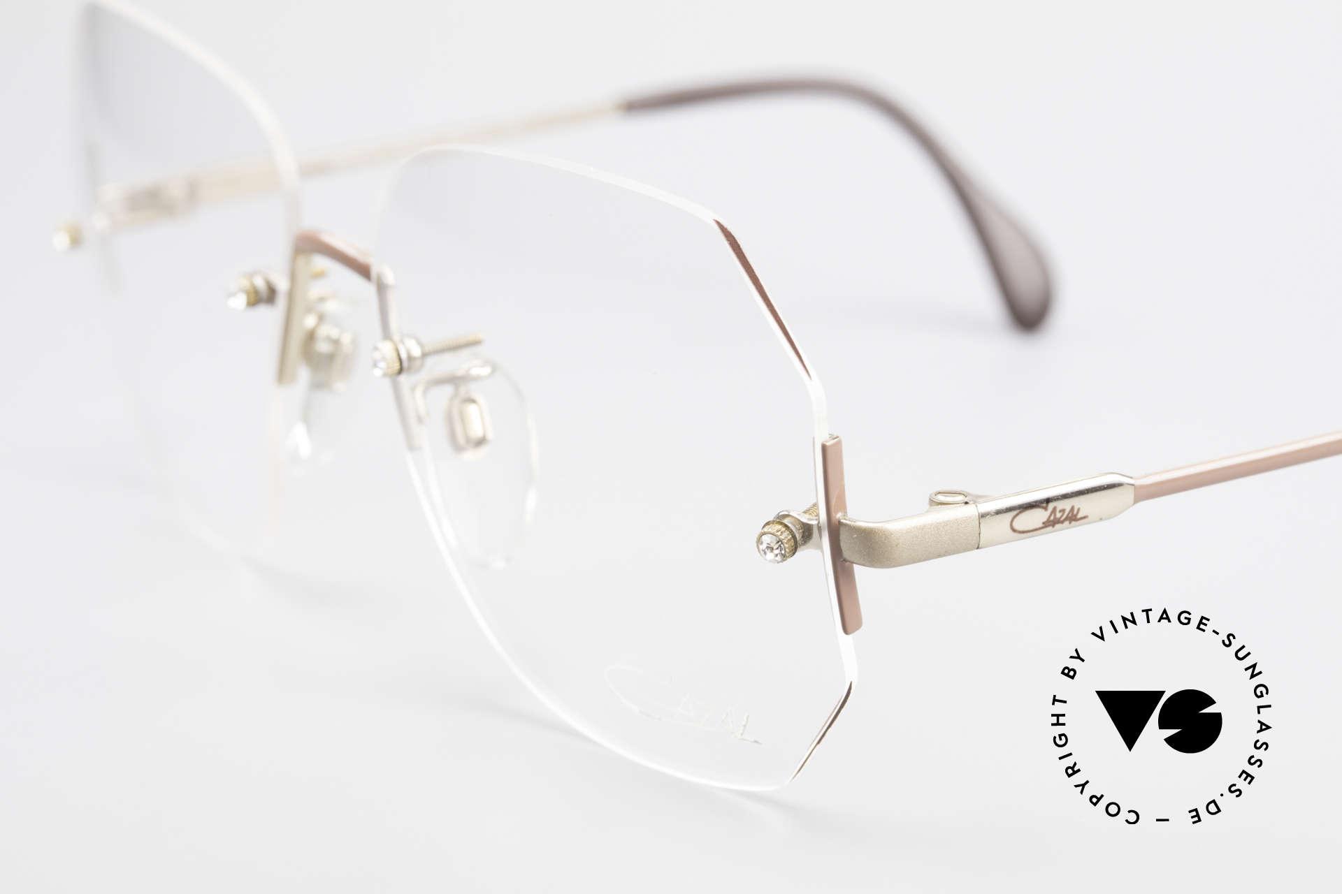 Cazal 216 Randlose Vintage Brille Damen, Gläser können durch Optiker angepasst werden, Passend für Damen