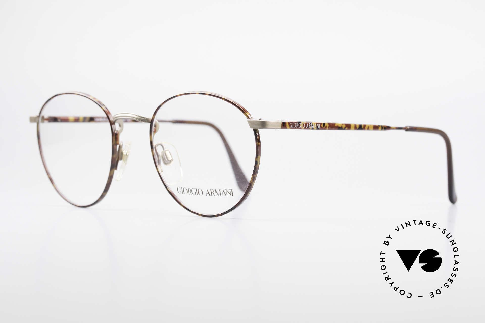 Giorgio Armani 166 No Retro Brille 80er Panto, elegante Lackierung in grau und kastanien-braun, Passend für Herren
