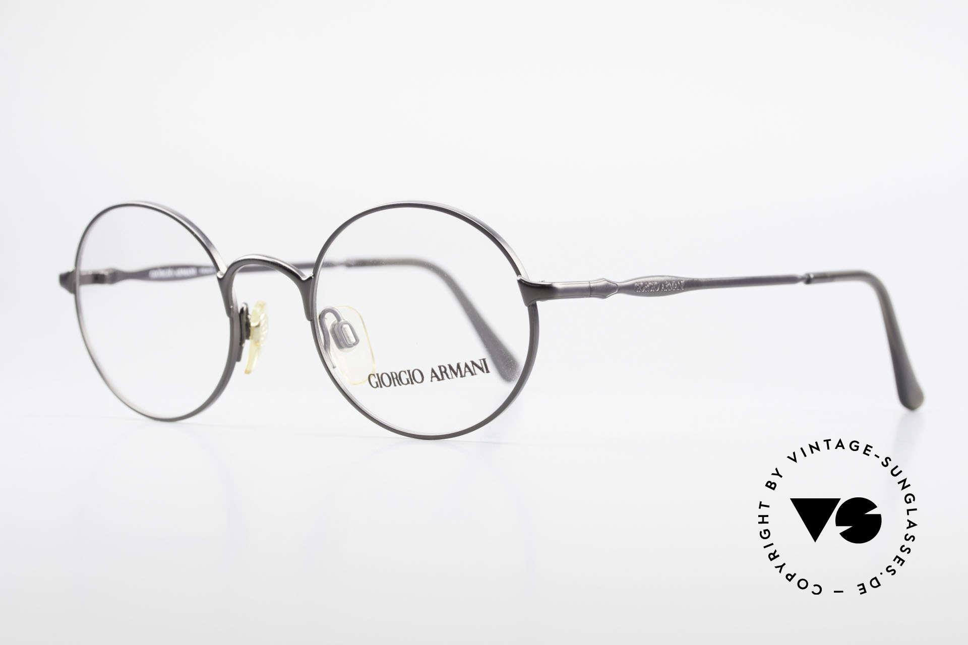 Giorgio Armani 243 Kleine Rund Ovale Brille 90er, dezenter, zeitloser Stil sowie Farbe (anthrazit), Passend für Herren und Damen