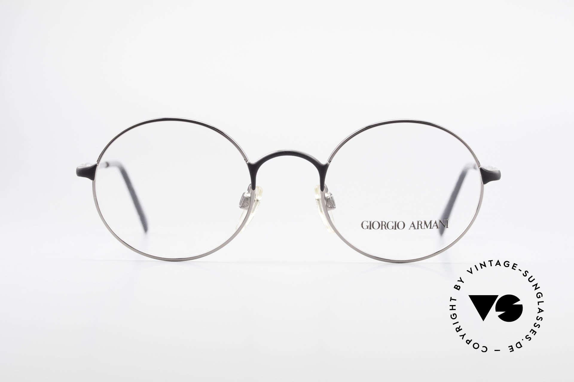 Giorgio Armani 243 Runde Ovale Brille 90er Small, schlichter, runder Rahmen in KLEINER Größe!, Passend für Herren und Damen