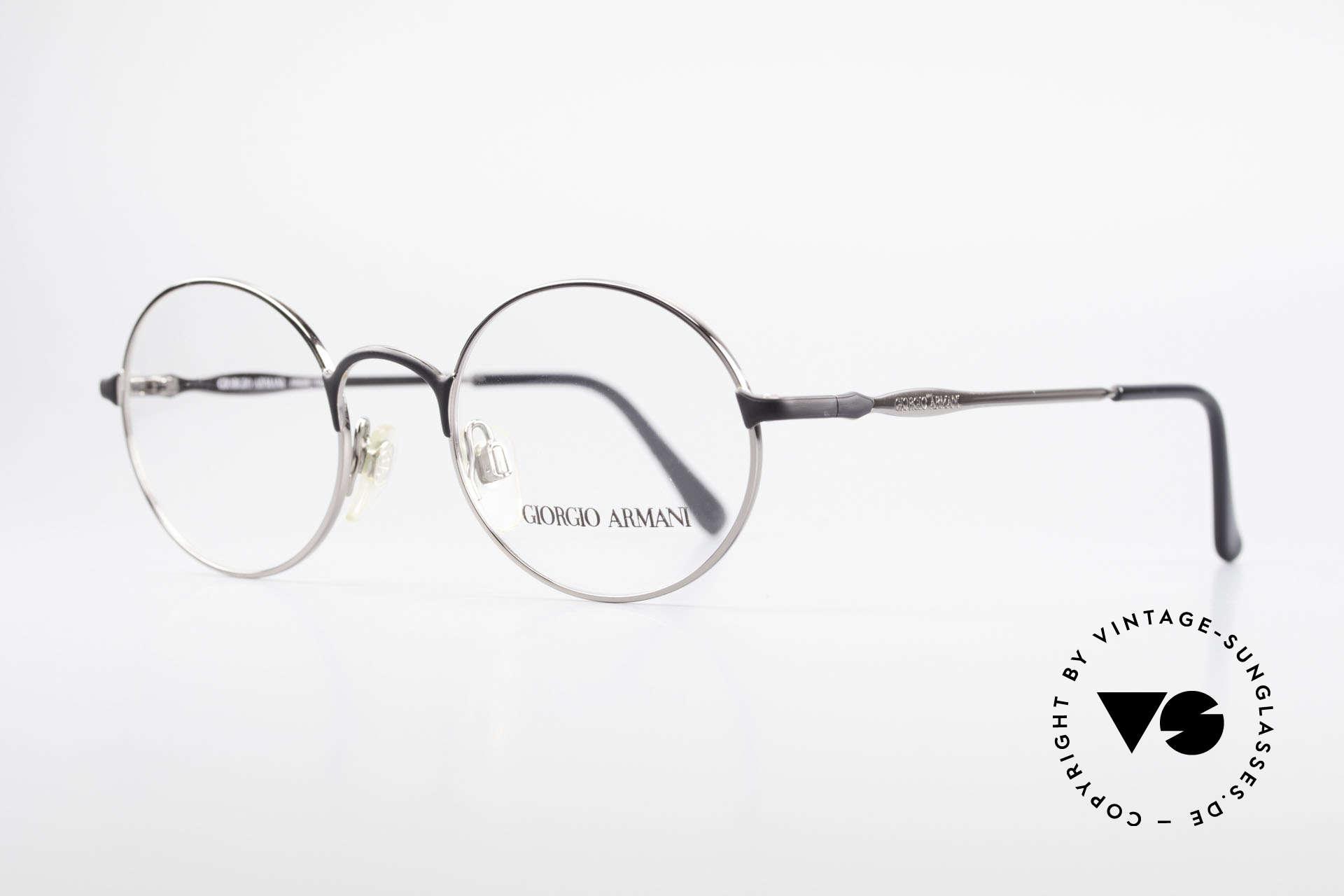 Giorgio Armani 243 Runde Ovale Brille 90er Small, dezenter & zeitloser Stil in schwarz und silber, Passend für Herren und Damen