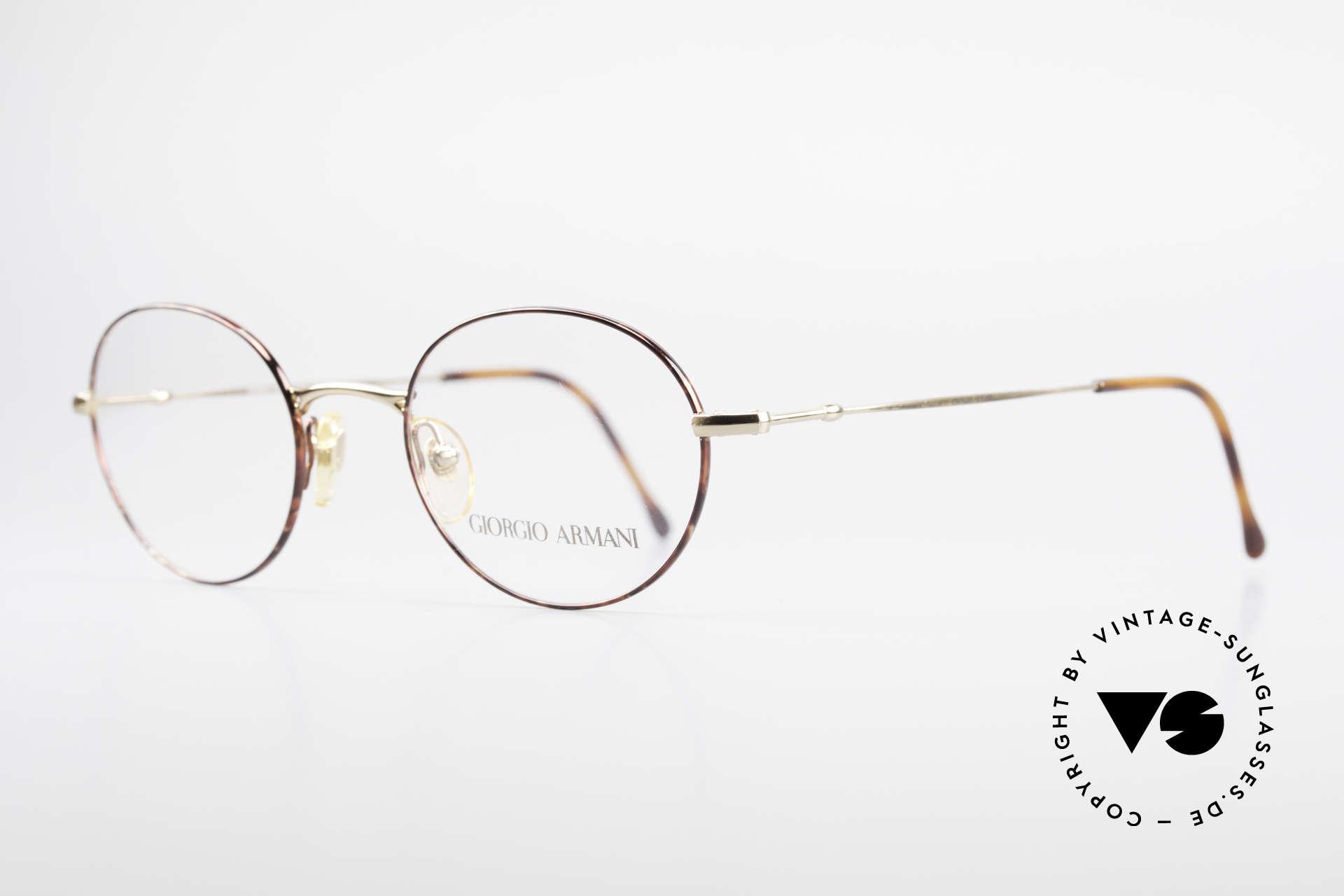 Giorgio Armani 252 Alte Vintage Brille Oval 90er, sehr elegante Lackierung in gold und kastanienbraun, Passend für Herren und Damen