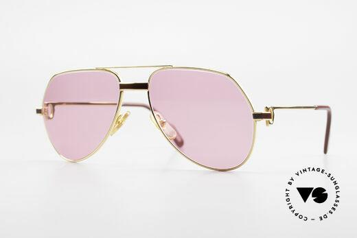 Cartier Vendome Laque - S 80er Luxus Sonnenbrille Pink Details