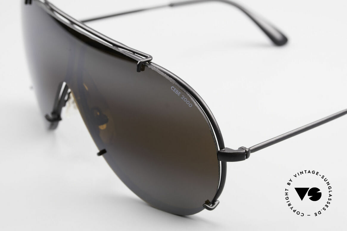 Cebe 2000 Vintage Rallye Sportbrille, die Fassung könnte zudem auch optisch verglast werden, Passend für Herren