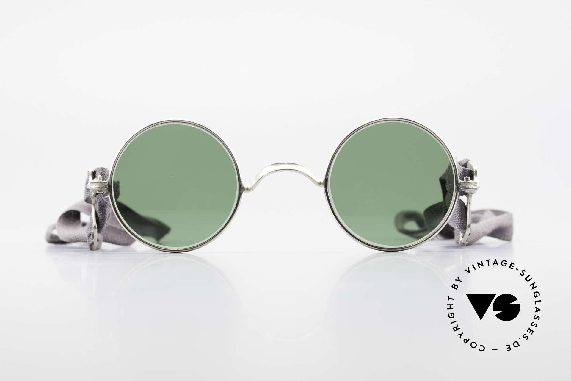 Militärbrille Round Alte Armee Brille Steampunk, Stoffbänder als Bügel; sehr einfach & funktional, Passend für Herren