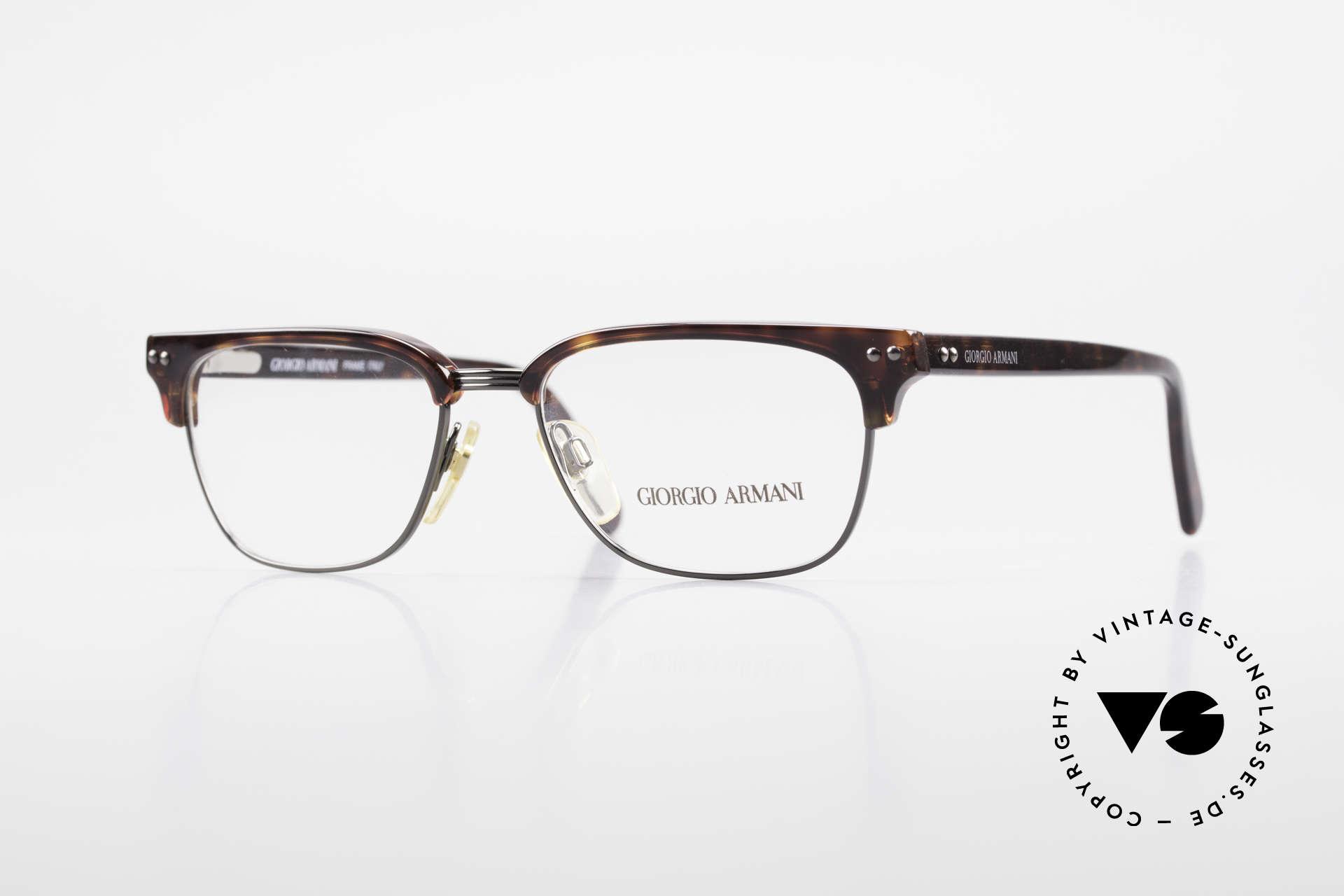 Giorgio Armani 381 Vintage Brille Clubmaster Stil, zeitlose 90er J. Giorgio Armani Designer-Fassung, Passend für Herren
