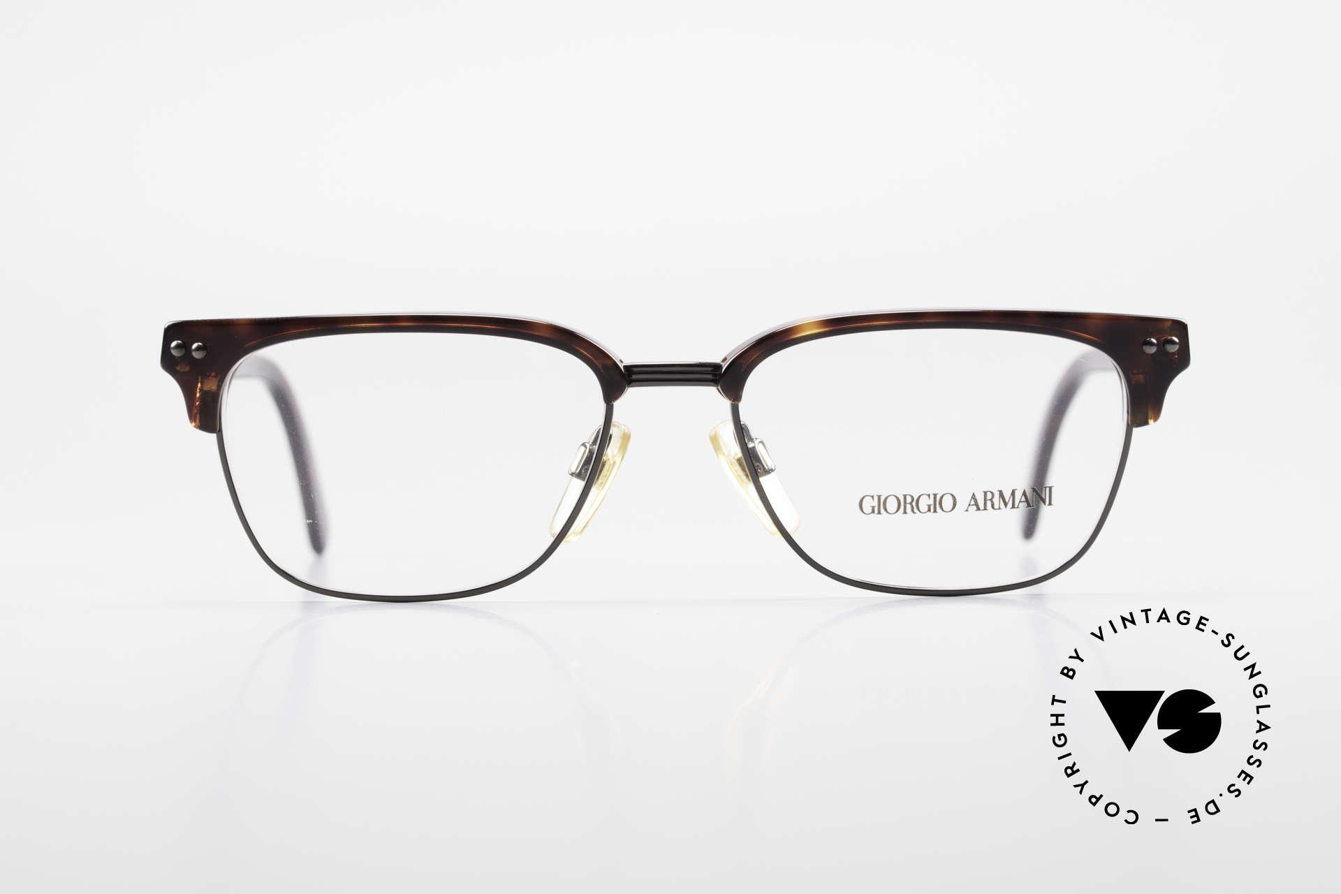 Giorgio Armani 381 Vintage Brille Clubmaster Stil, absoluter Klassiker (bekannte eckige Panto-Form), Passend für Herren