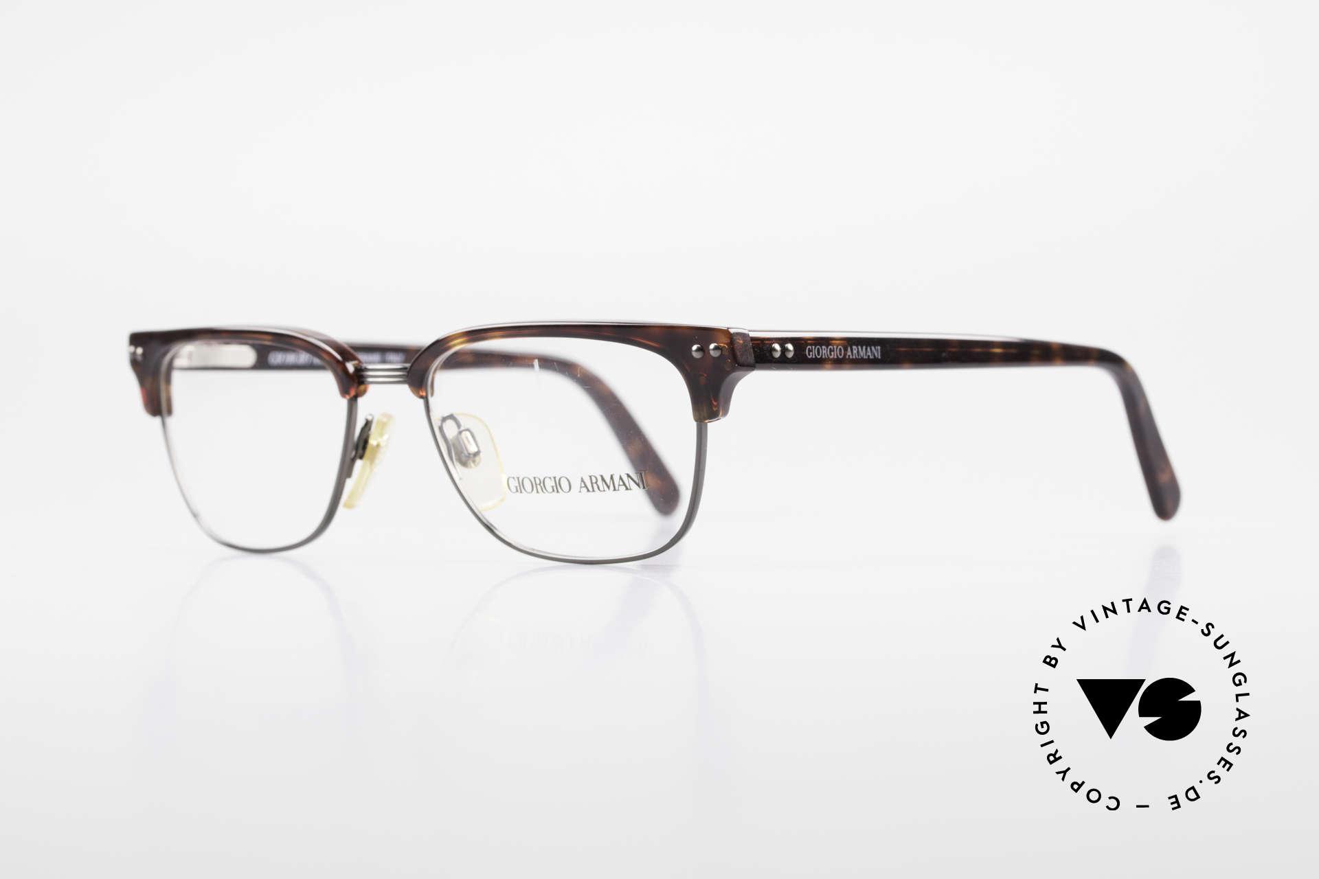 Giorgio Armani 381 Vintage Brille Clubmaster Stil, wahre 'Gentlemen-Brille' mit flexiblen Scharnieren, Passend für Herren