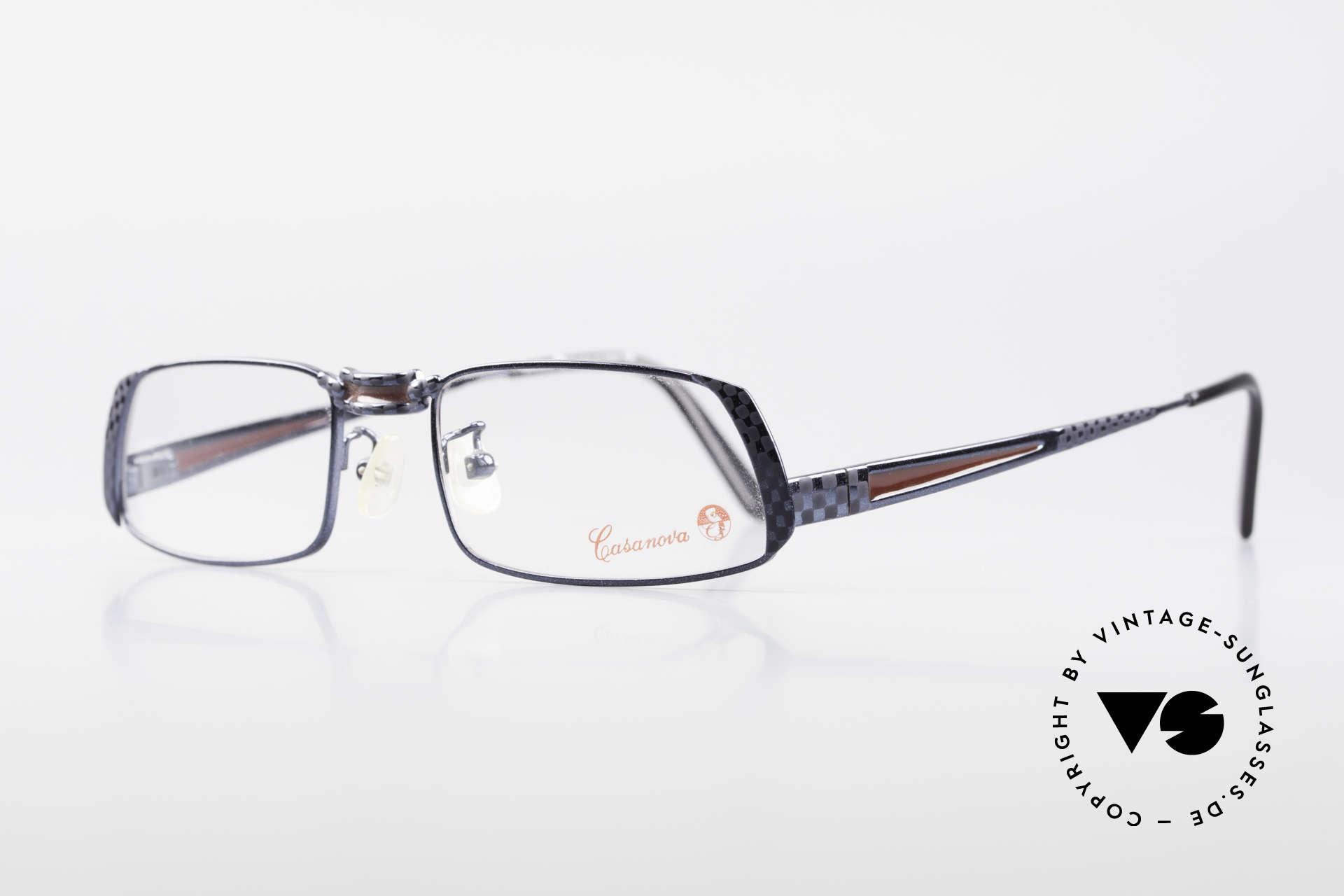 Casanova LC70 Alte Vintage Designer Brille, DUNKELBLAU metallic mit weinroten Deko-Elementen, Passend für Herren und Damen