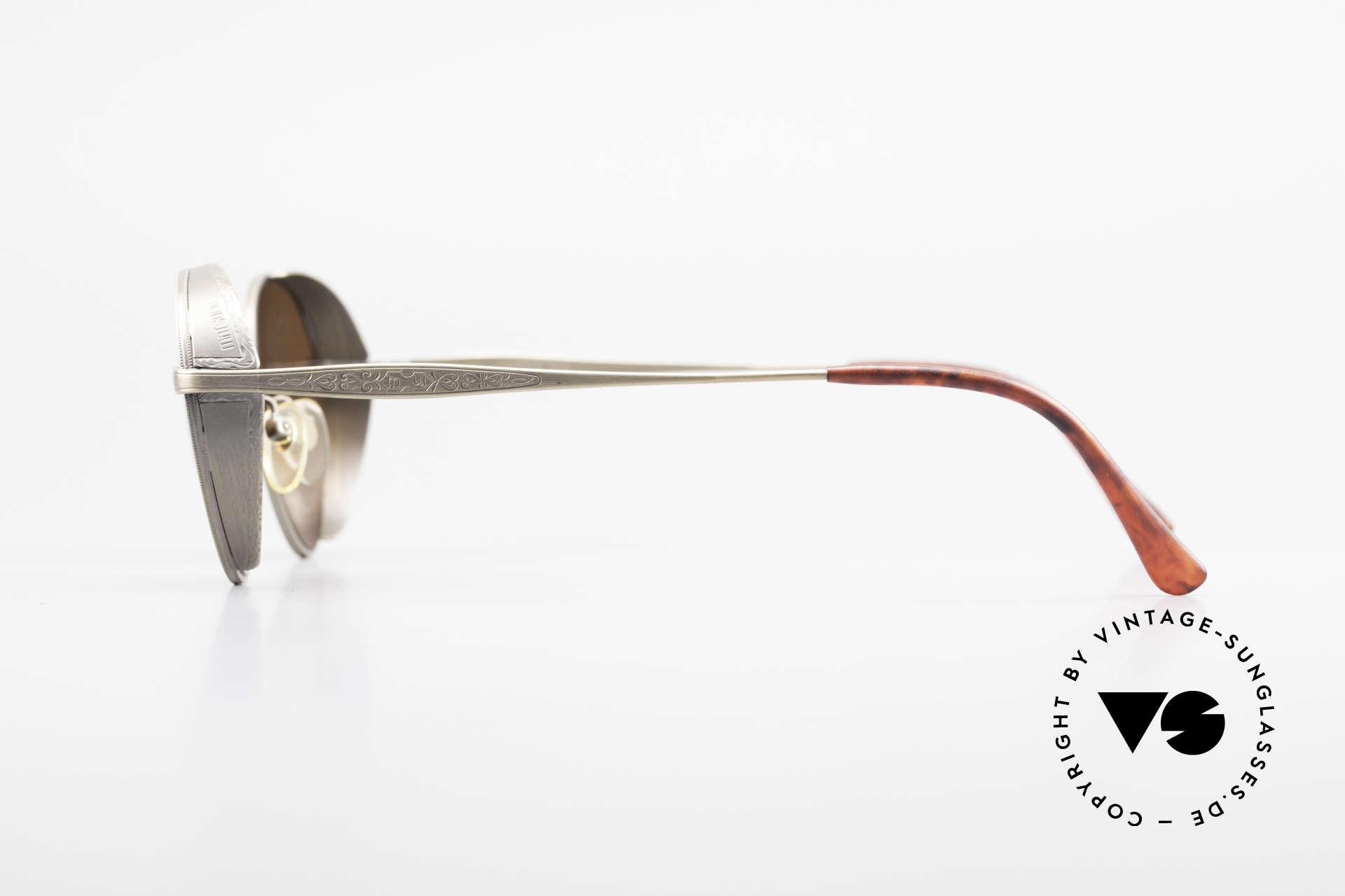 Matsuda 2829 Rare Vintage Steampunk Brille, sehr markante Seitenblenden an der Titanium-Fassung, Passend für Herren und Damen