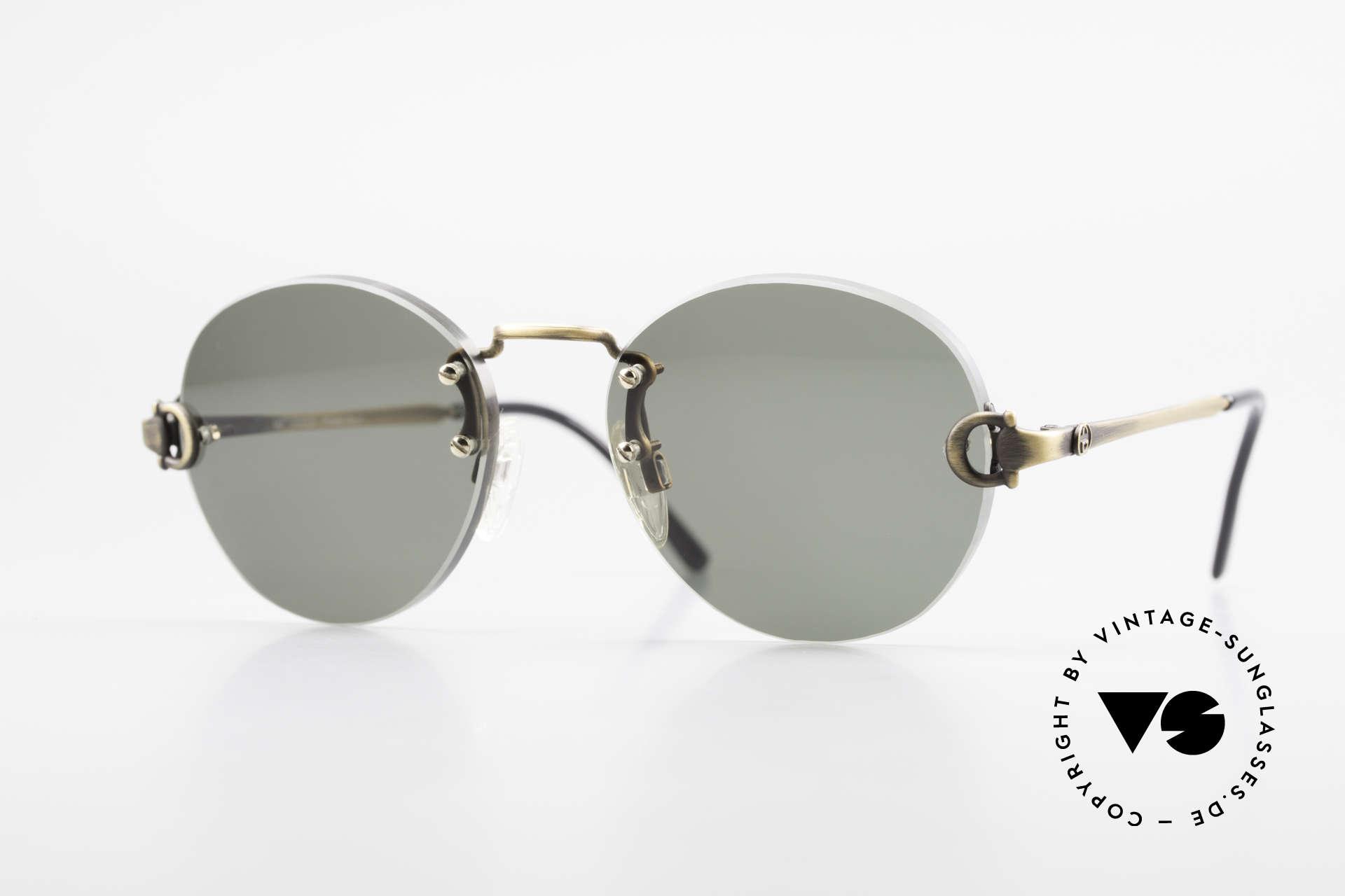 Gucci 2223 Runde Sonnenbrille Randlos, randlose vintage 1980er Sonnenbrille von GUCCI, Passend für Herren und Damen