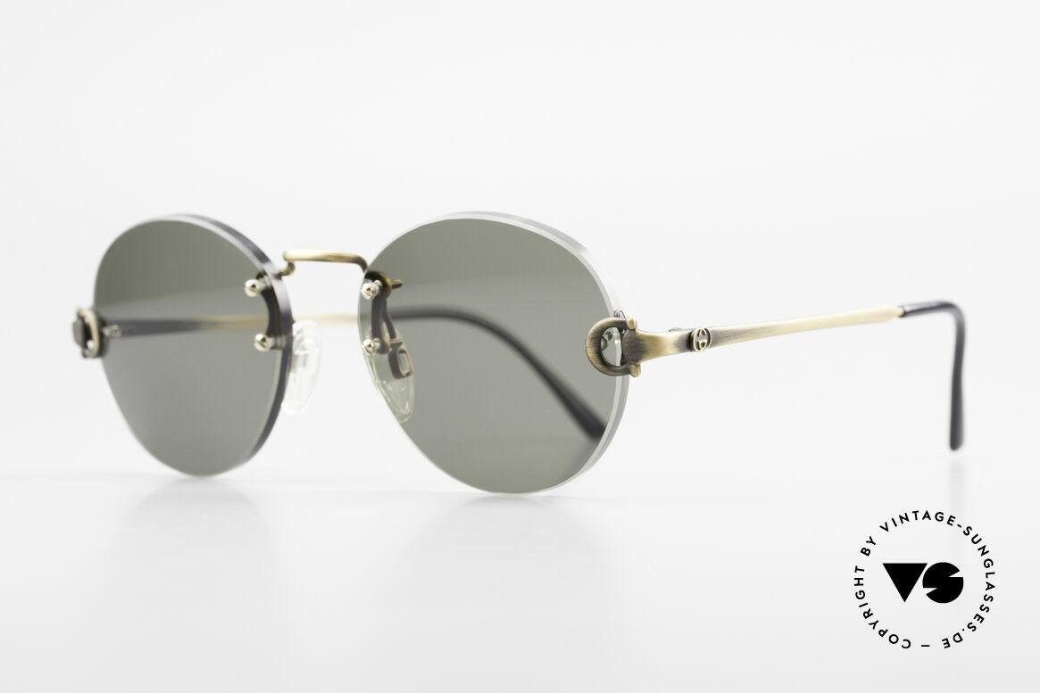 Gucci 2223 Runde Sonnenbrille Randlos, Messing-Garnitur mit Sonnengläsern in dunkelgrün, Passend für Herren und Damen