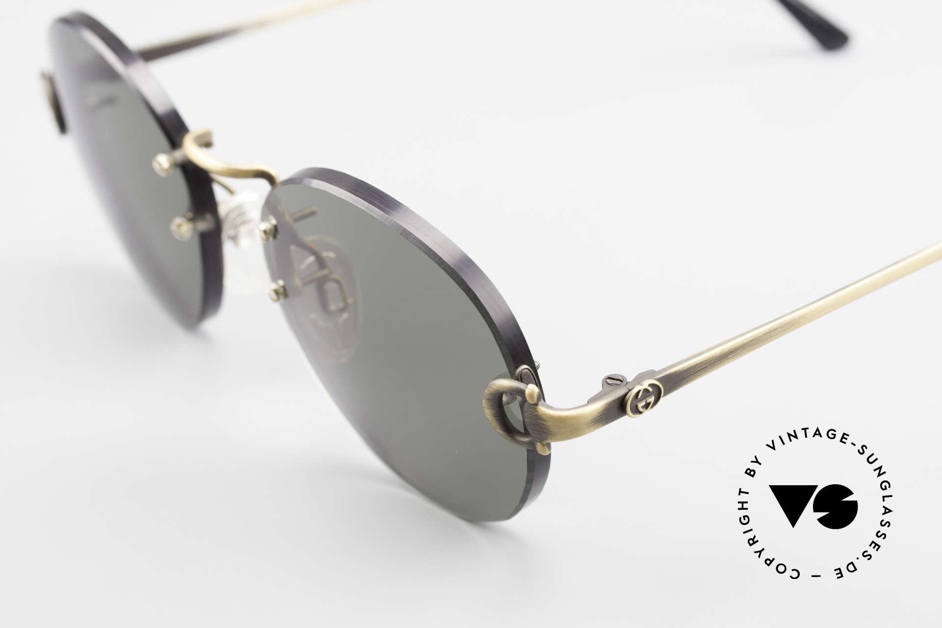 Gucci 2223 Runde Sonnenbrille Randlos, KEINE RETRObrille, sondern echte 1980er Jahre Ware, Passend für Herren und Damen