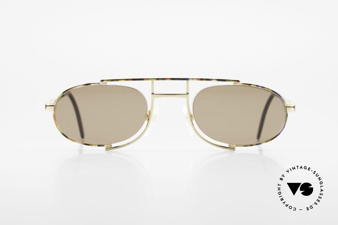 Cazal 753 Ovale Designer Sonnenbrille, außergewöhnliche, halbrahmenlose Brillenfassung, Passend für Herren