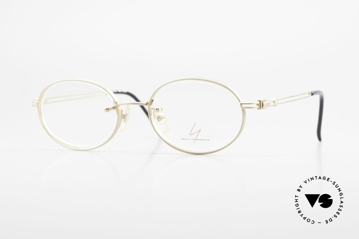 Yohji Yamamoto 51-5107 Designerbrille Oval Vergoldet, rare 90er vintage Designer-Brille von Yohji Yamamoto, Passend für Herren und Damen