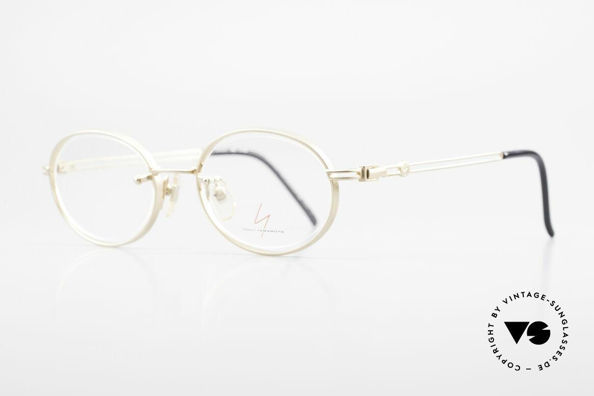 Yohji Yamamoto 51-5107 Designerbrille Oval Vergoldet, Vollrandfassung; Gläser sind dennoch randlos gefasst, Passend für Herren und Damen