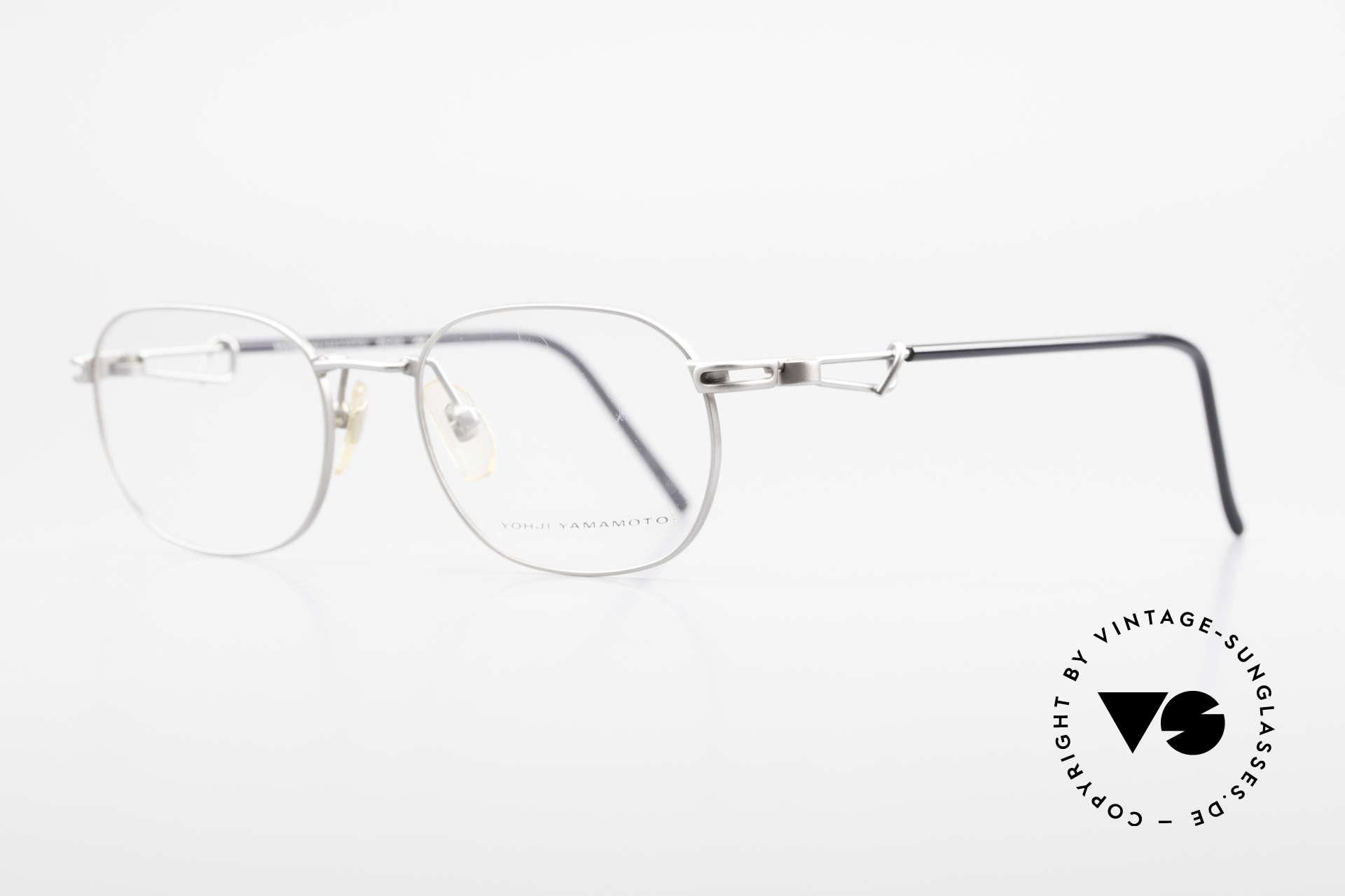 Yohji Yamamoto 51-4113 Titan Designerbrille Vintage, klassische Front & interessante Bügel (titan/schwarz), Passend für Herren und Damen