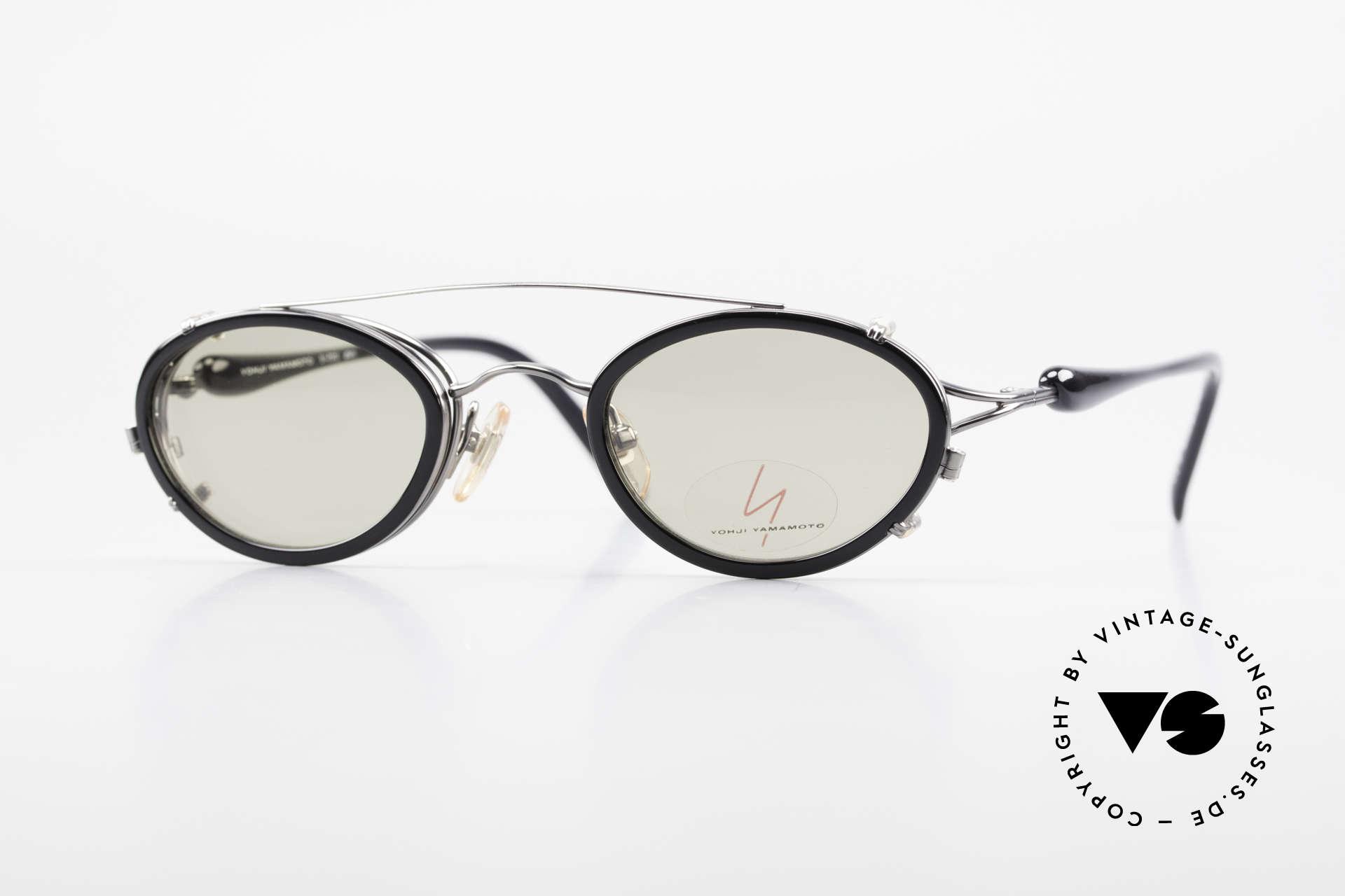 Yohji Yamamoto 51-7210 No Retro Brille Clip-On 90er, 90er Jahre vintage Sonnenbrille von Yohji Yamamoto, Passend für Herren und Damen