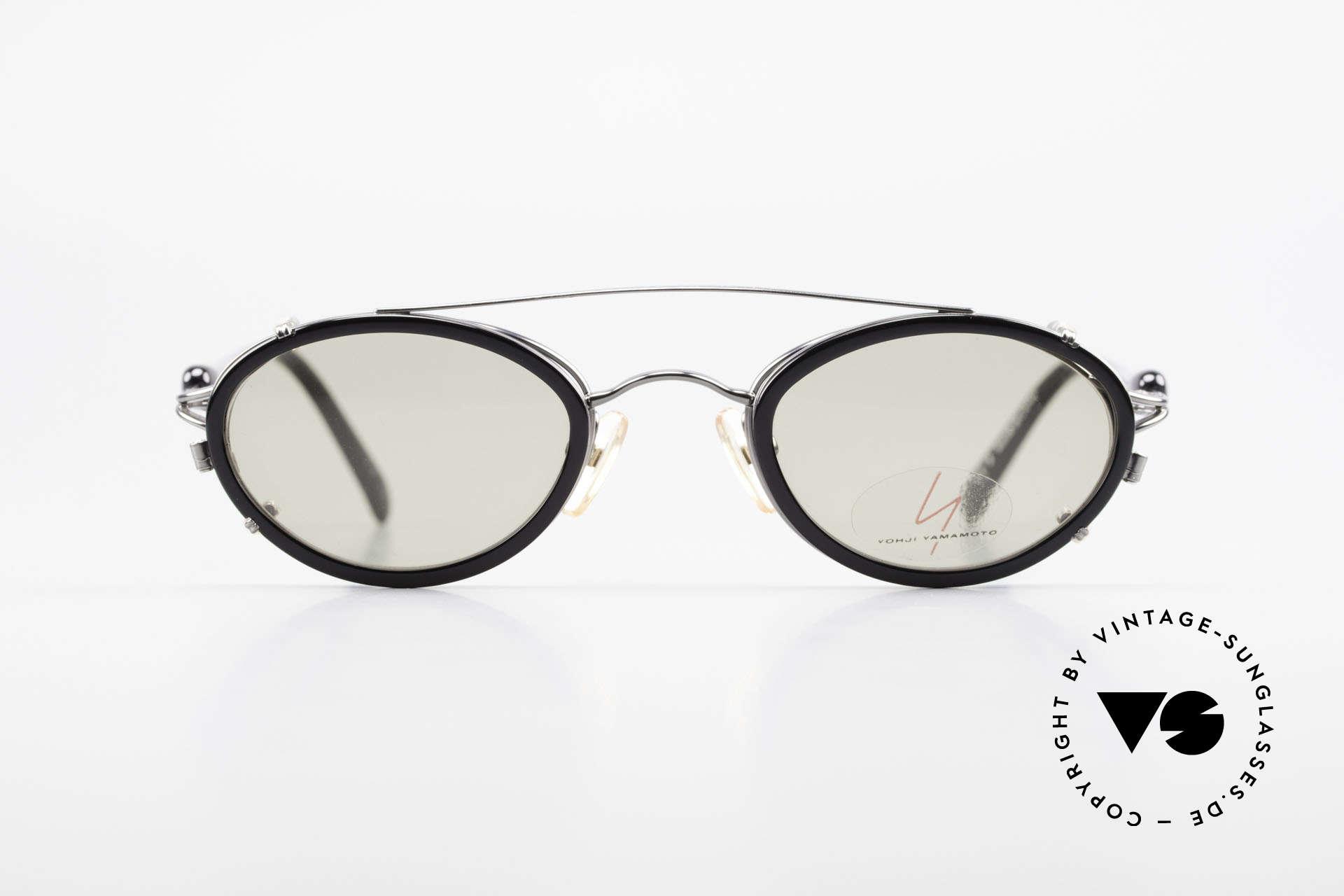 Yohji Yamamoto 51-7210 No Retro Brille Clip-On 90er, Designerbrille mit praktischem Sonnenclip (100% UV), Passend für Herren und Damen