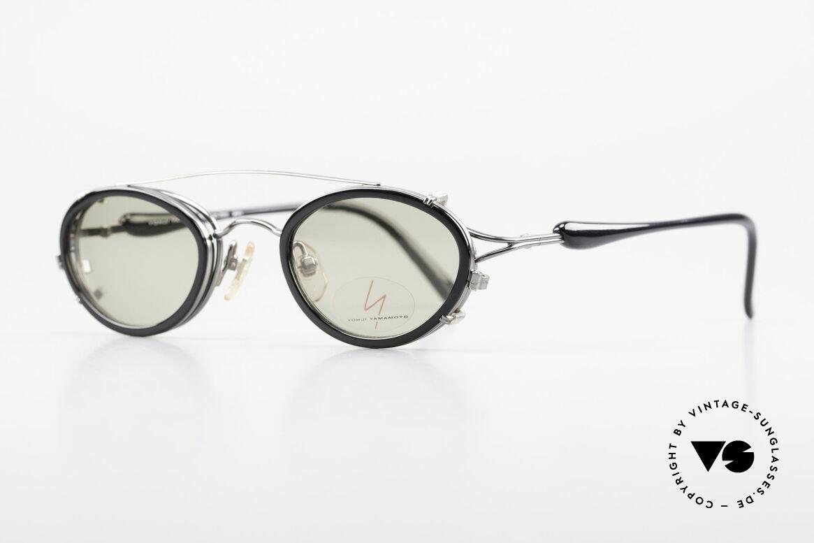"""Yohji Yamamoto 51-7210 No Retro Brille Clip-On 90er, herausragende Qualität, Rahmen glänzt """"GUNMETAL"""", Passend für Herren und Damen"""