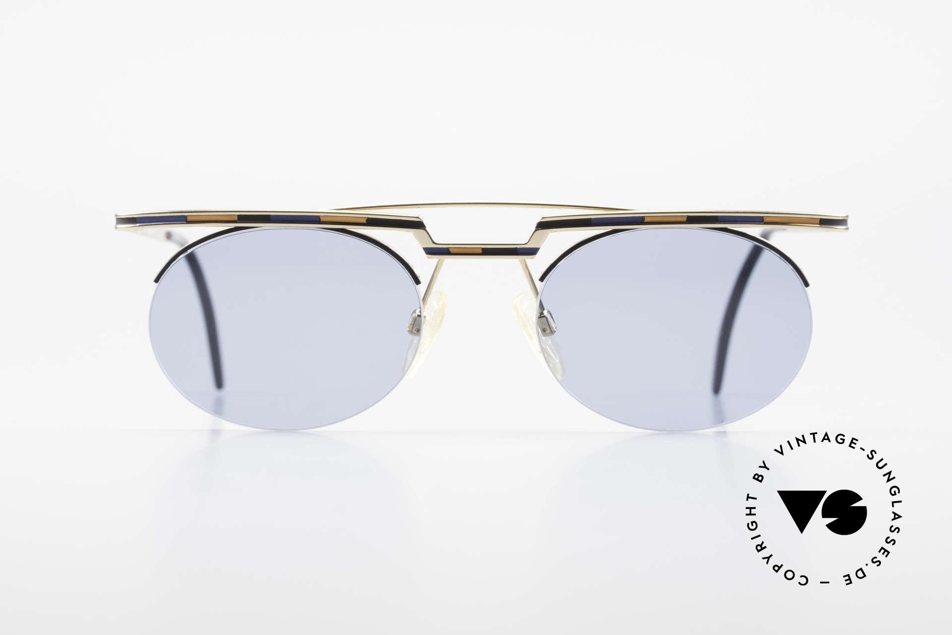Cazal 758 Original 90er Sonnenbrille, tolles geometrisches Spiel (oval und eckig zugleich), Passend für Herren und Damen