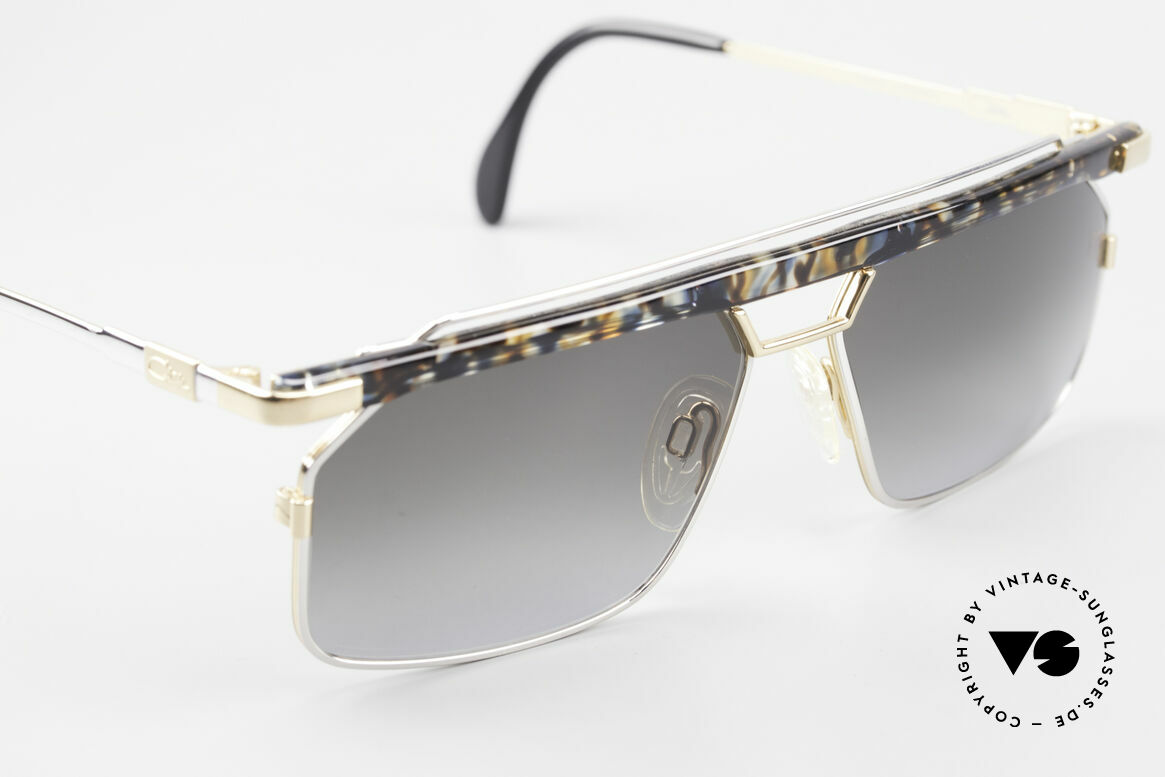 """Cazal 752 Rare 90er Vintage Sonnenbrille, ein Hingucker in Kolorierung: """"blau-ocker kristall"""", Passend für Herren"""