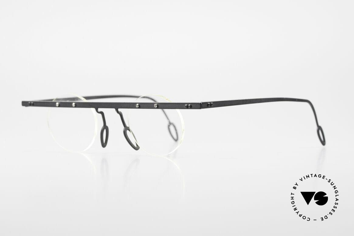 Theo Belgium Tita VII 11 Titanium 90er Vintage Brille, TITA-Serie = XL Titanium Modelle von THEO der 1990er, Passend für Herren und Damen