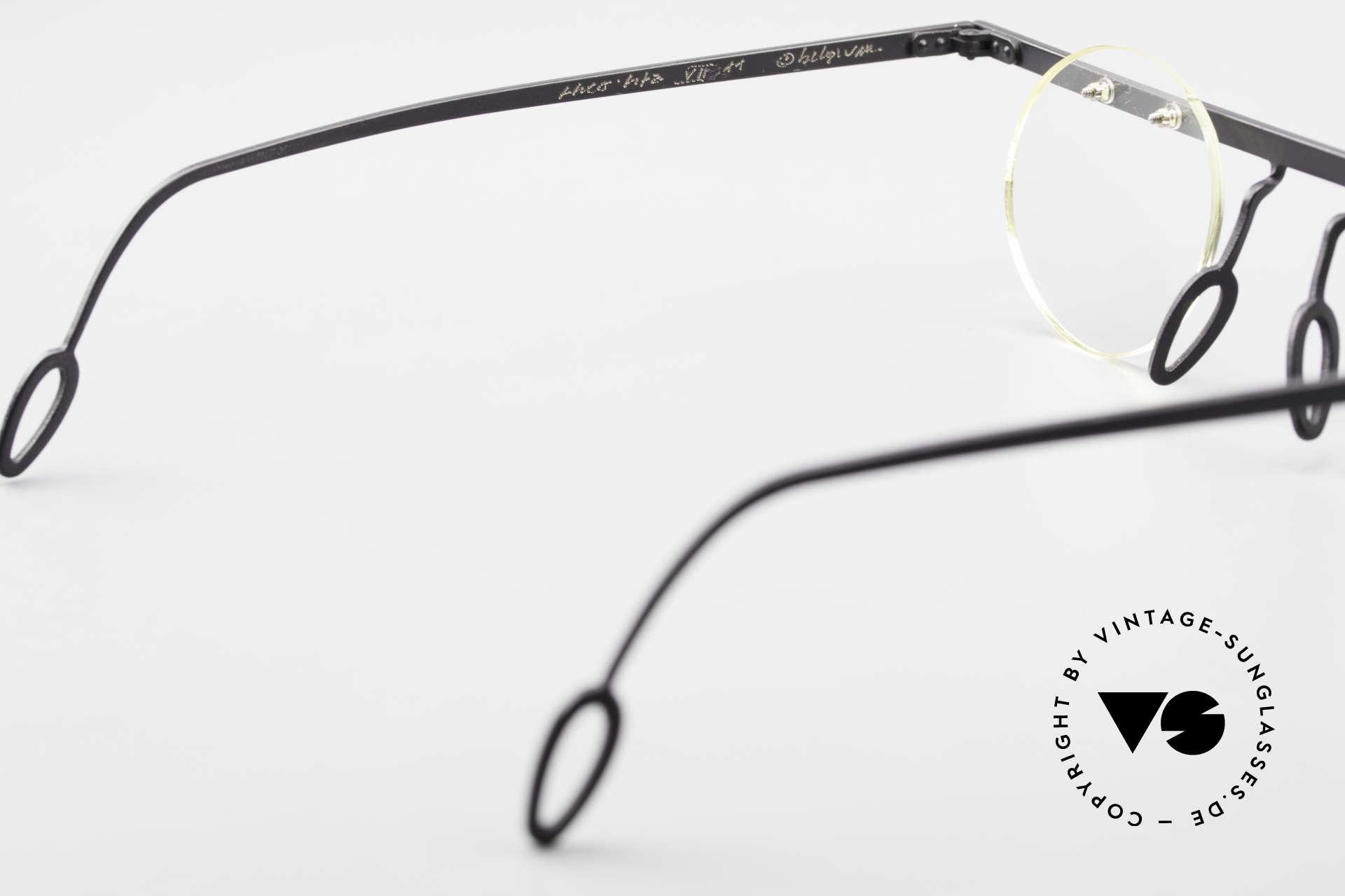 Theo Belgium Tita VII 11 Titanium 90er Vintage Brille, die runden Demo-Gläser können beliebig ersetzt werden, Passend für Herren und Damen