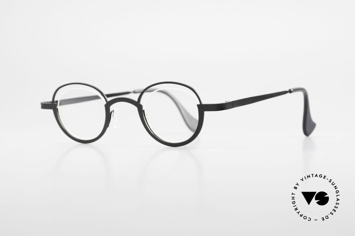 Theo Belgium Dozy Slim Randlose 90er Metall Fassung, Gläser werden u.a. durch einen Nylor-Faden gehalten, Passend für Herren und Damen